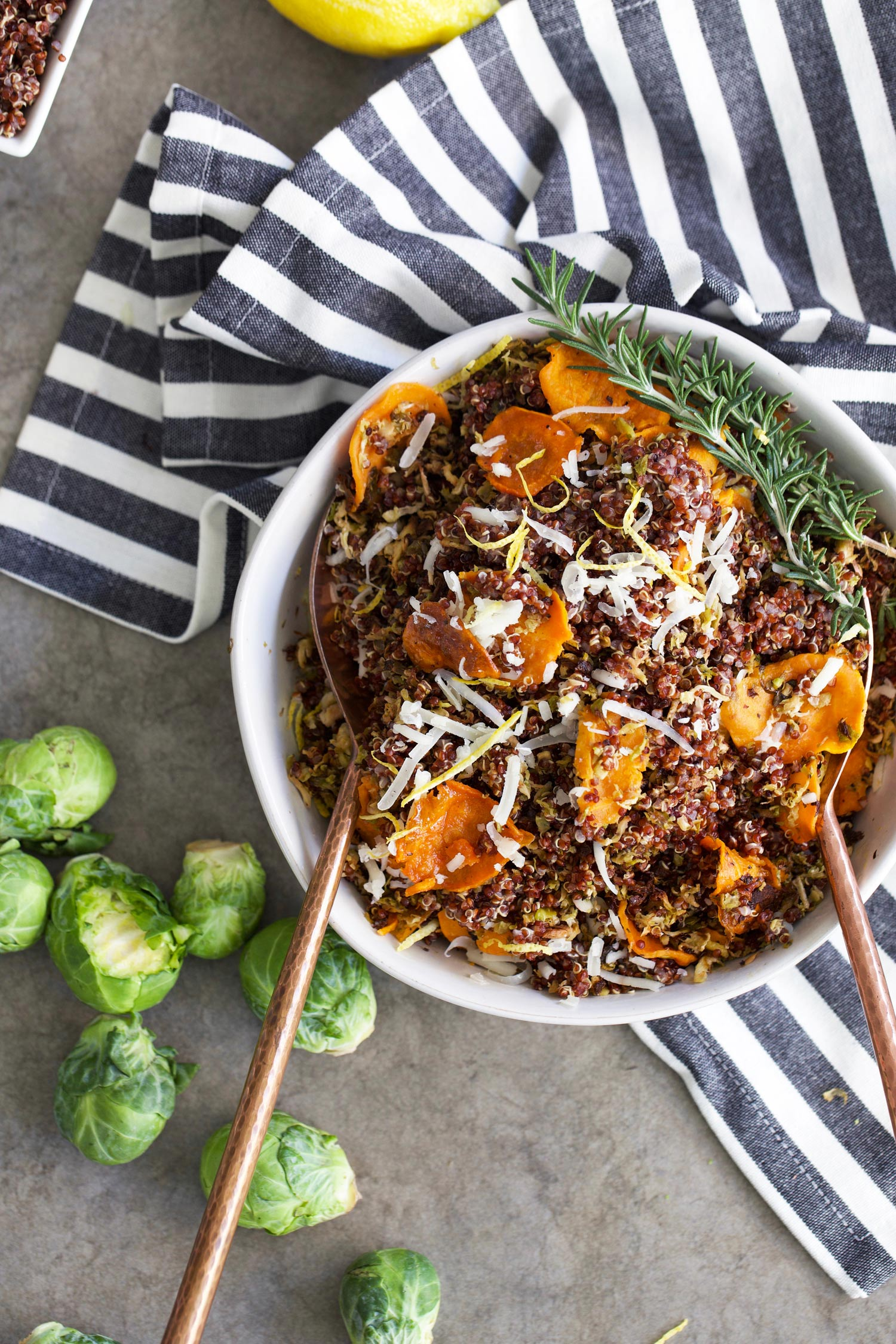 crispy Brussels sprouts with quinoa