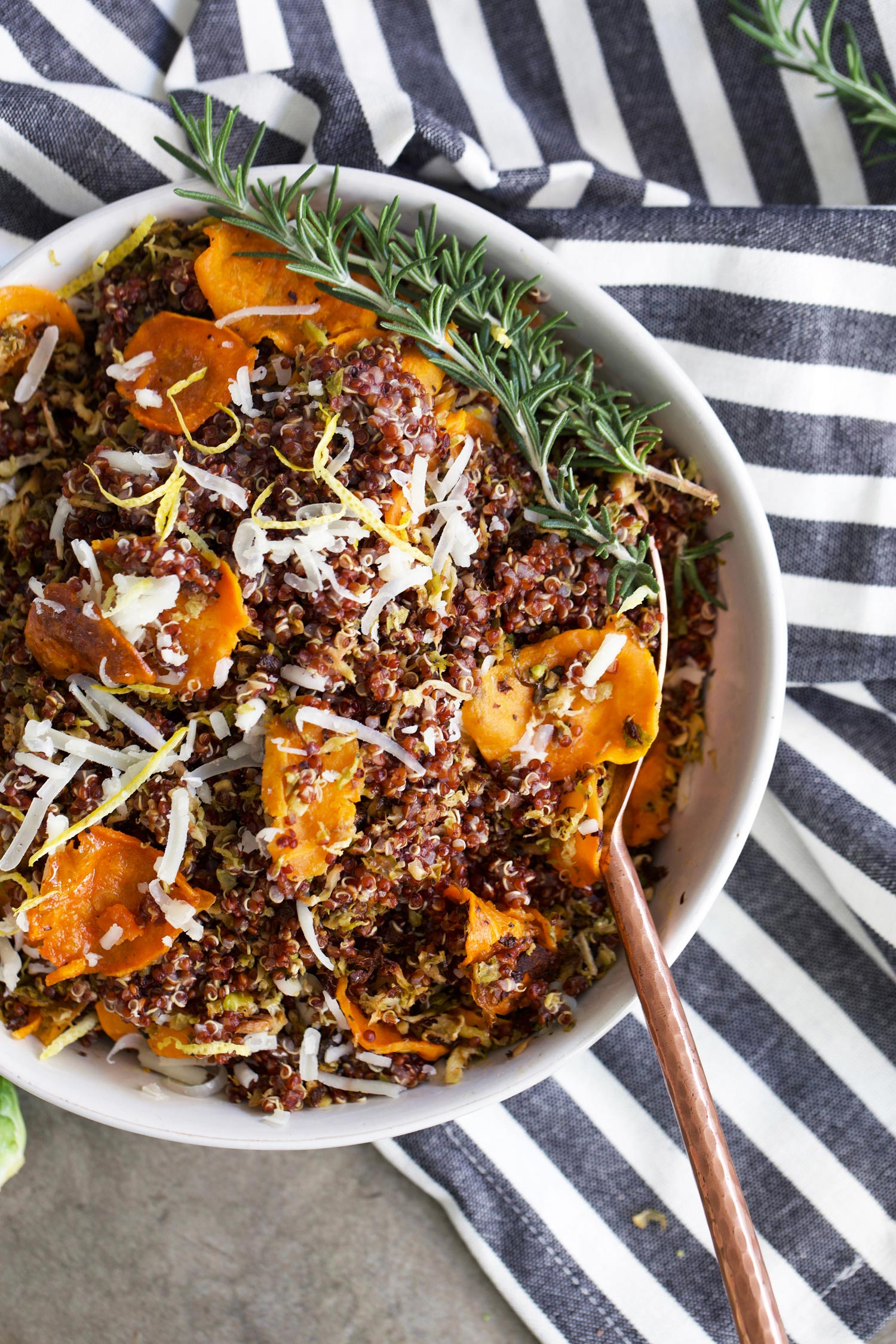 bowl of crispy Brussels sprouts quinoa and sweet potatoes