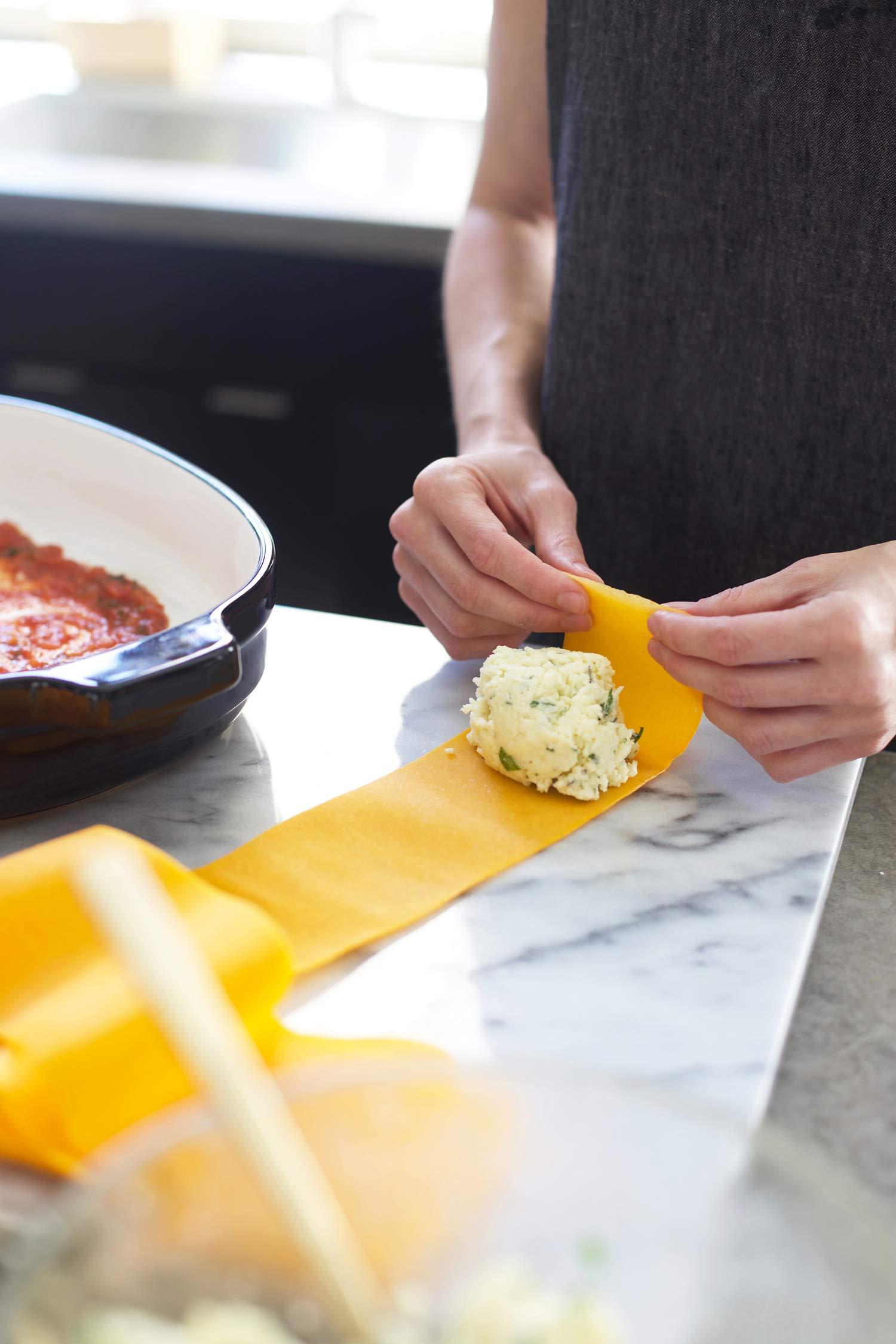 preparing butternut squash manicotti