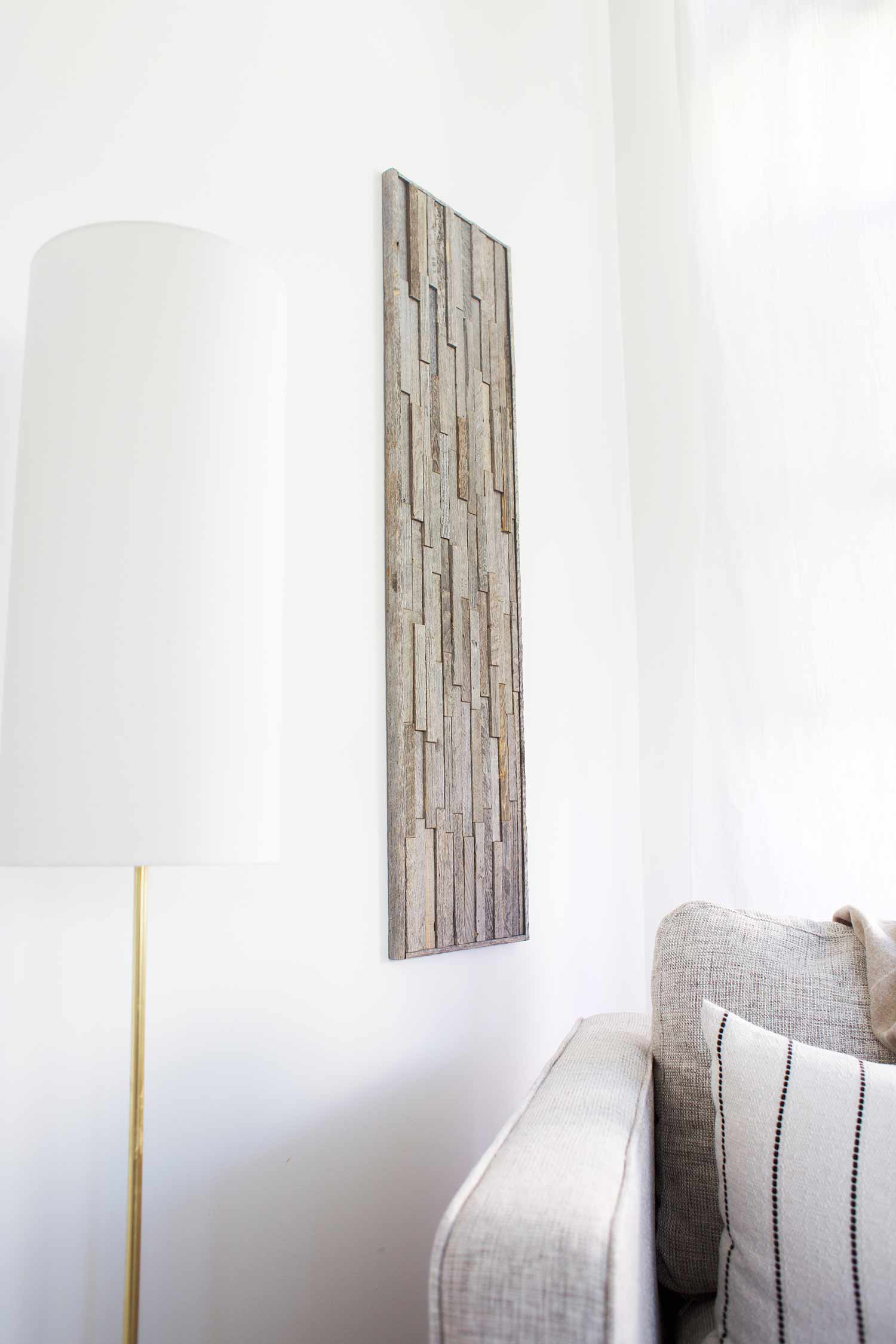 Stikwood wall art in living room close up