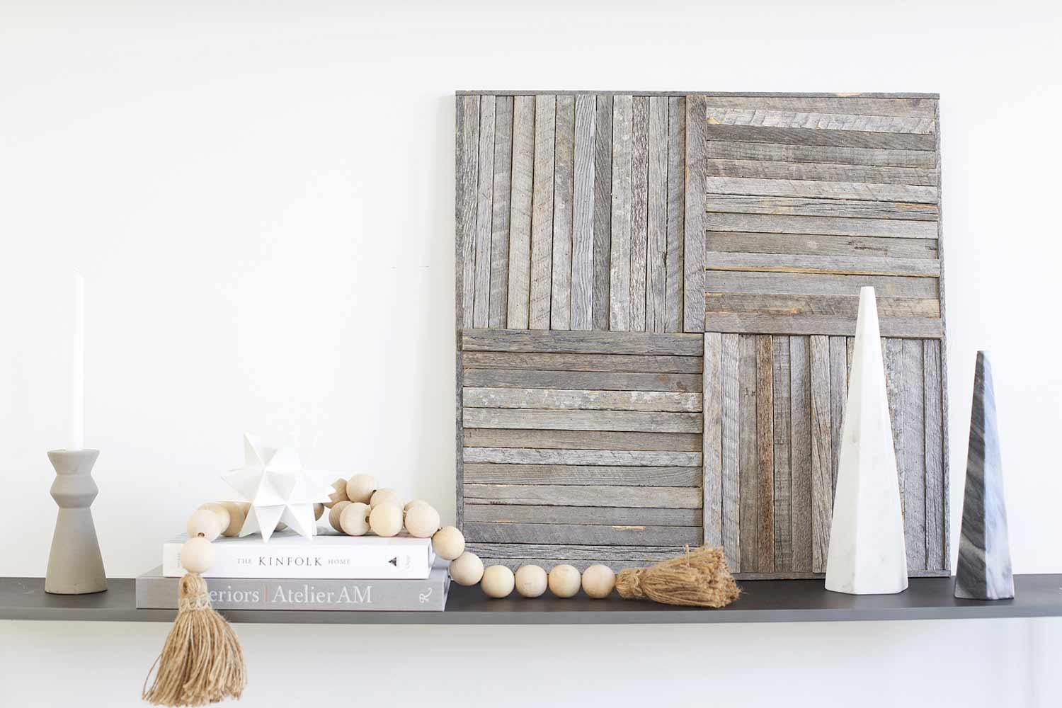 Stikwood wall art on credenza