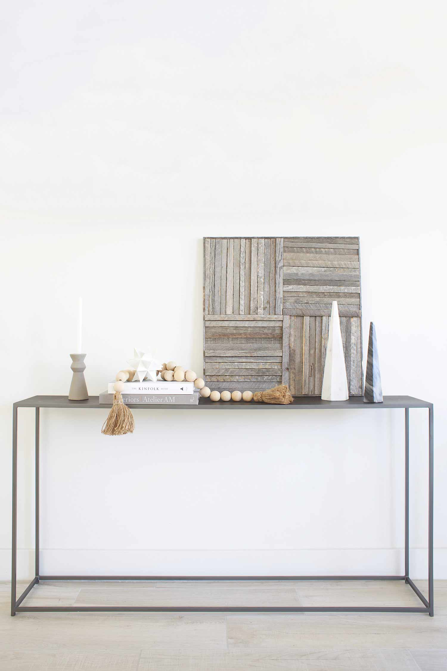 Stikwood wall art panel on credenza
