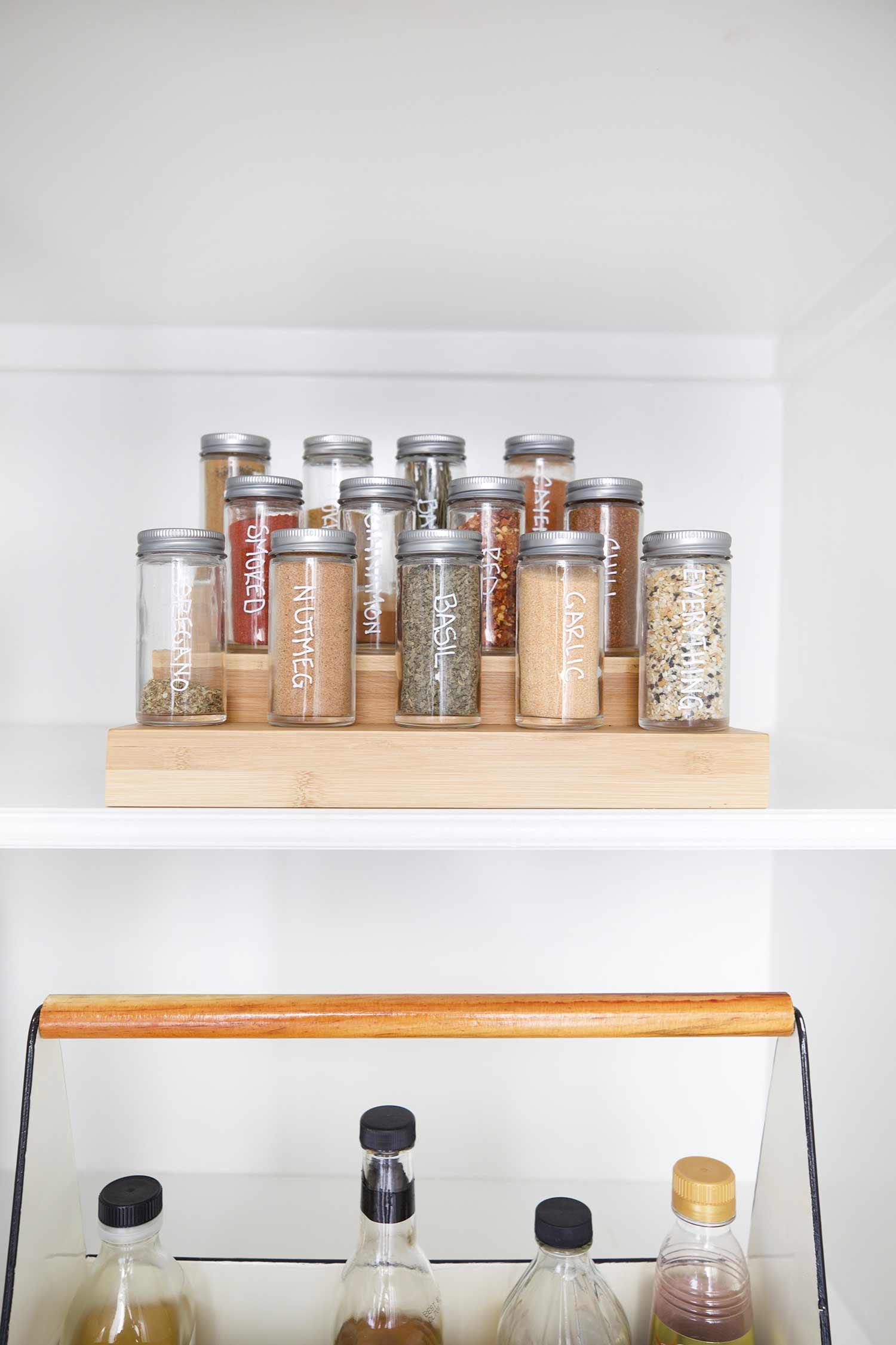 organized pantry spice rack