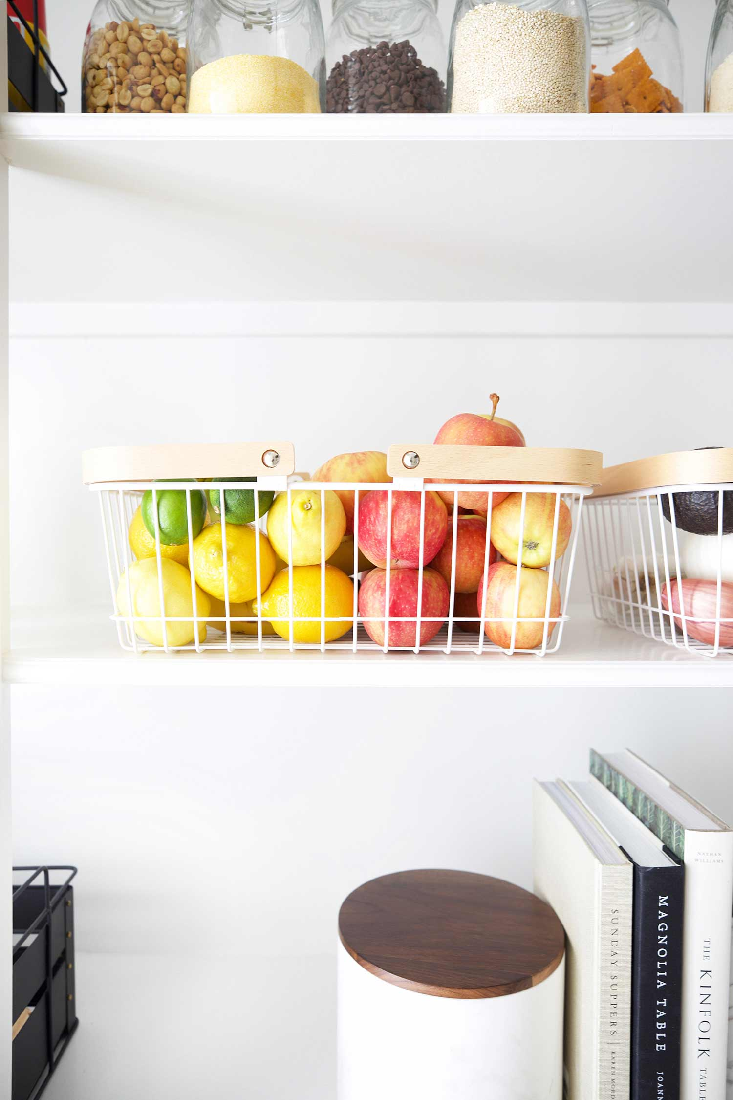 produce basket in organized pantry