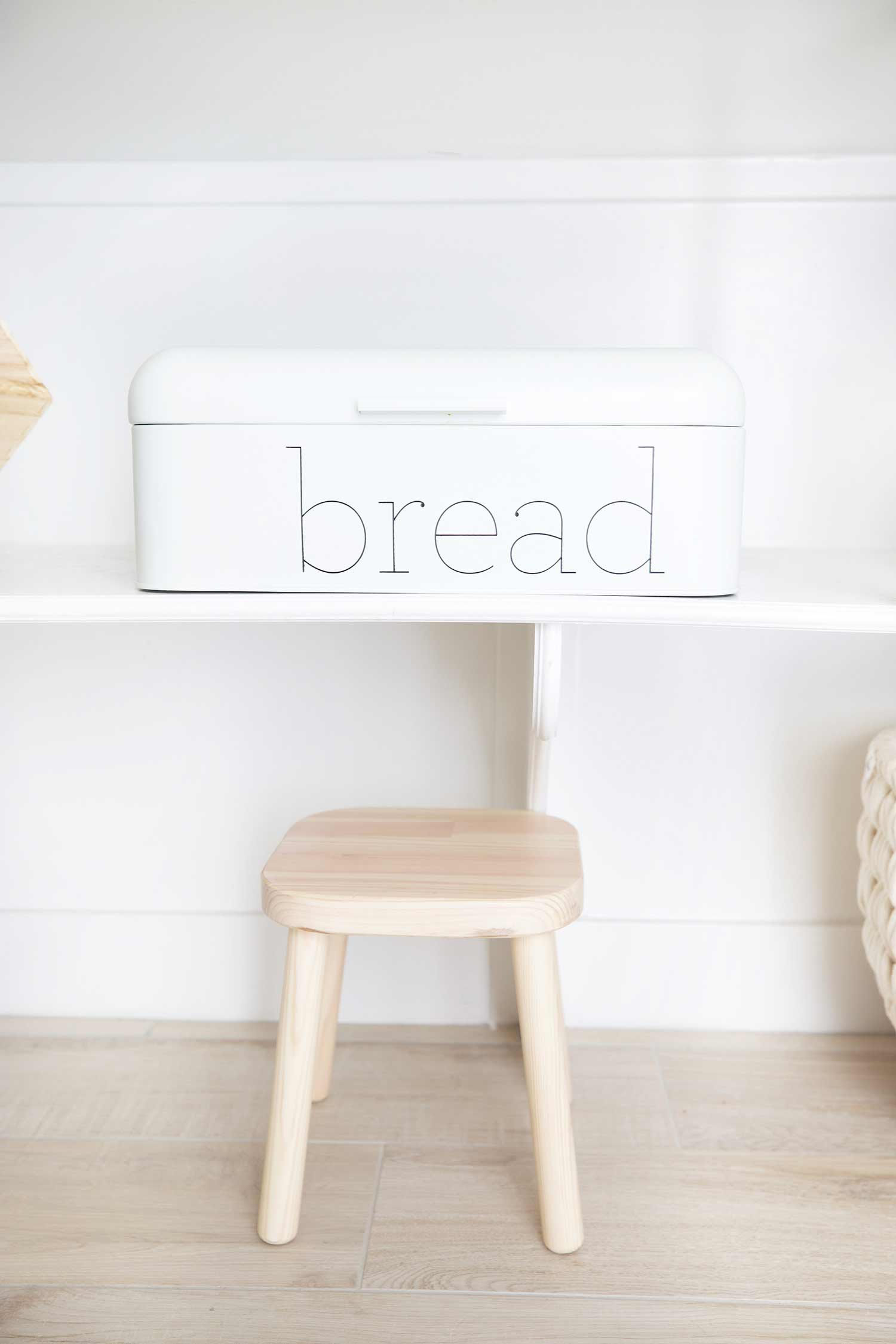 pantry reveal bread box and stool