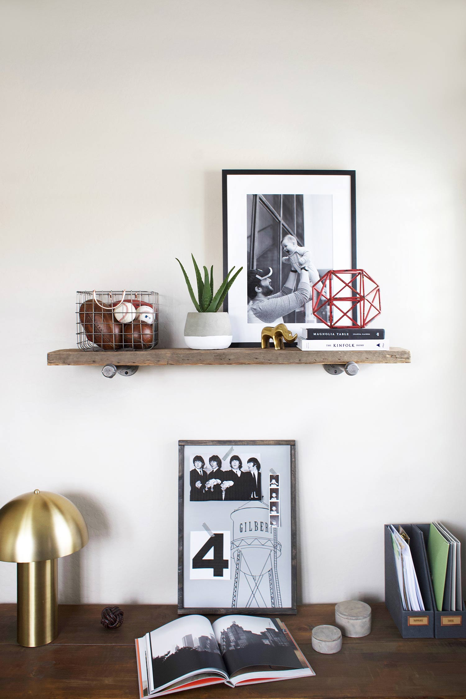 teen room reclaimed wood shelf