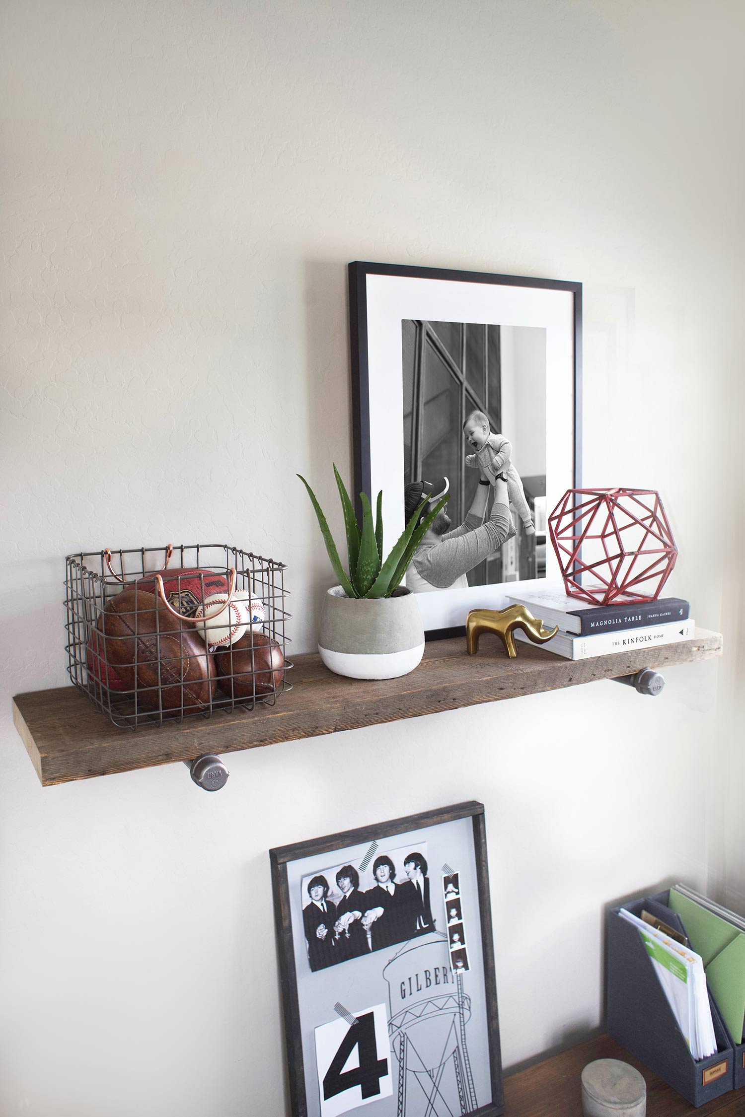 reclaimed wood shelf teen study