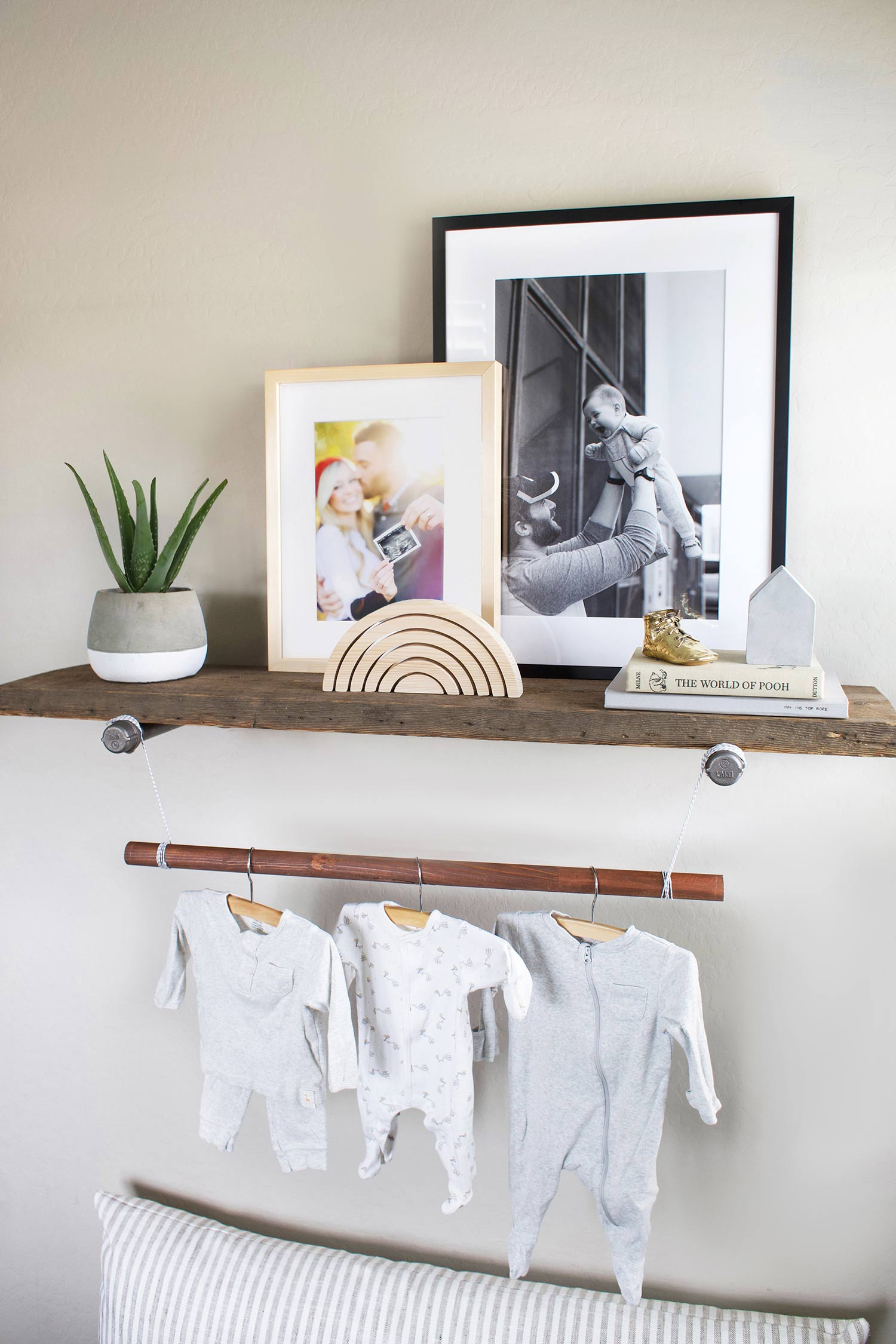 gender neutral nursery reclaimed wood shelf