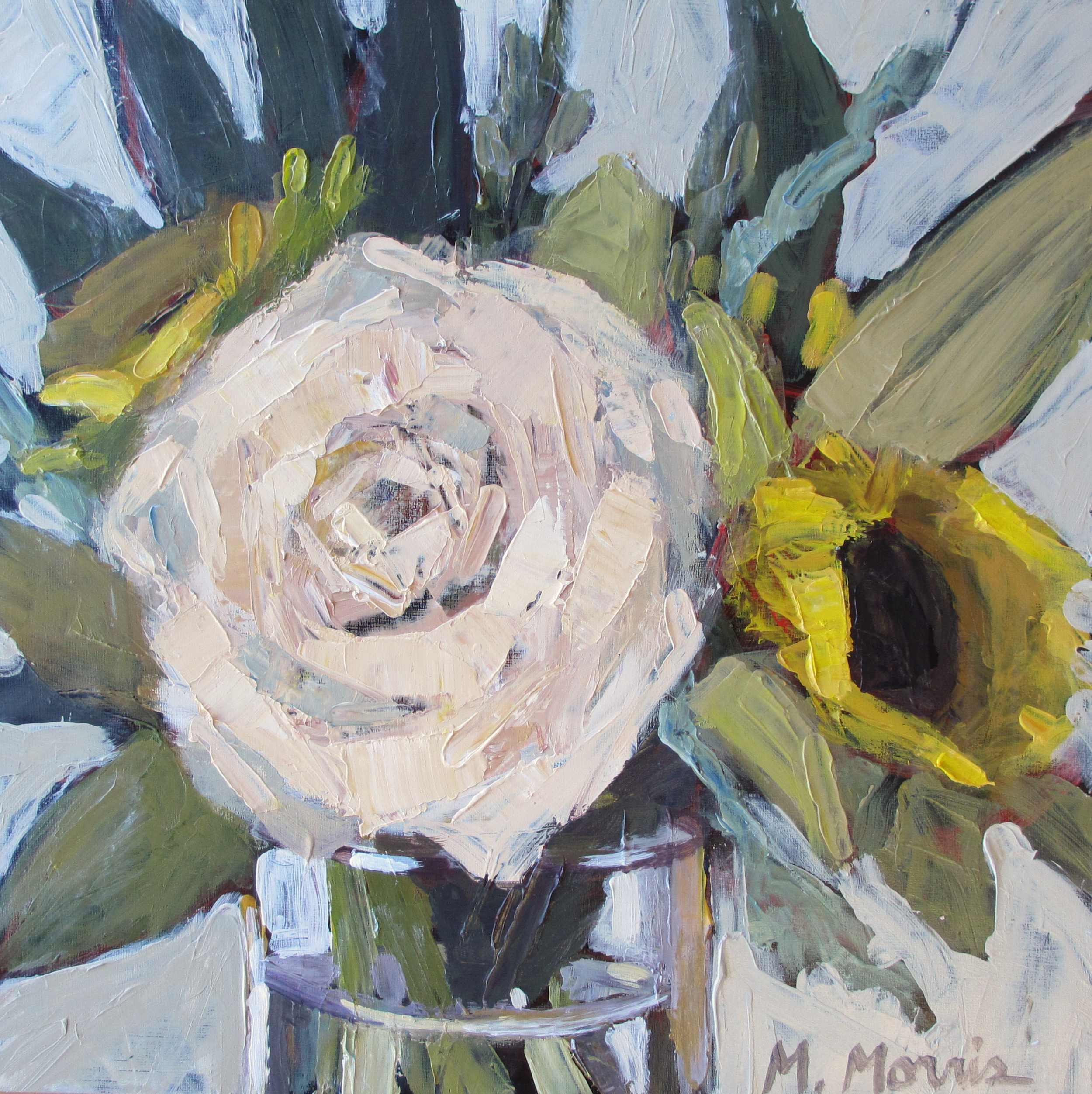 Painting by dear Melanie Morris/ Original bouquets a retreat gift from the hands of Heather Metcalf