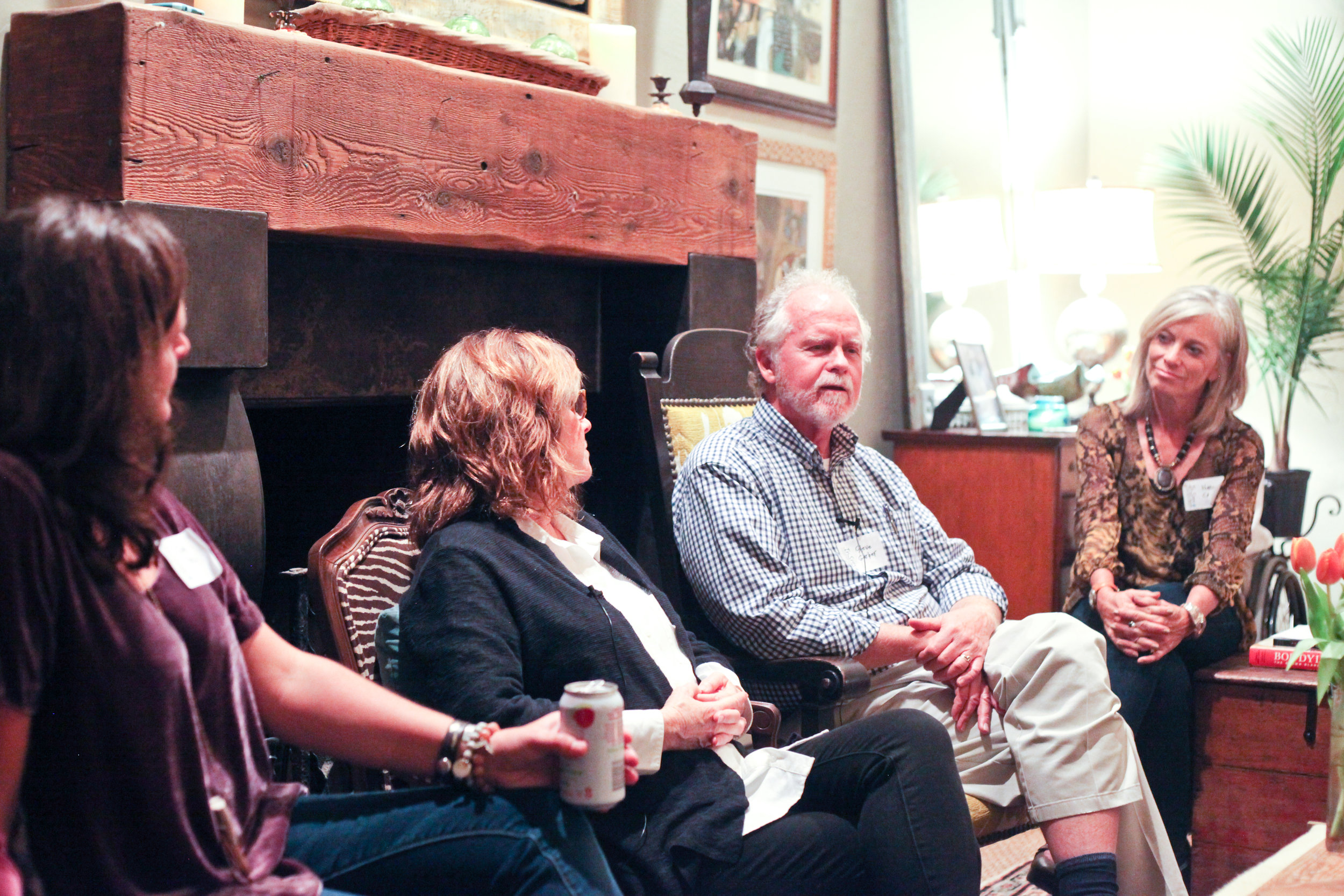 "Gina Hurry, Andi Ashworth, Steve Garber, and Nancy Carroll discussing a life ""implicated for love's sake.""  Photo by Charity Ponter"