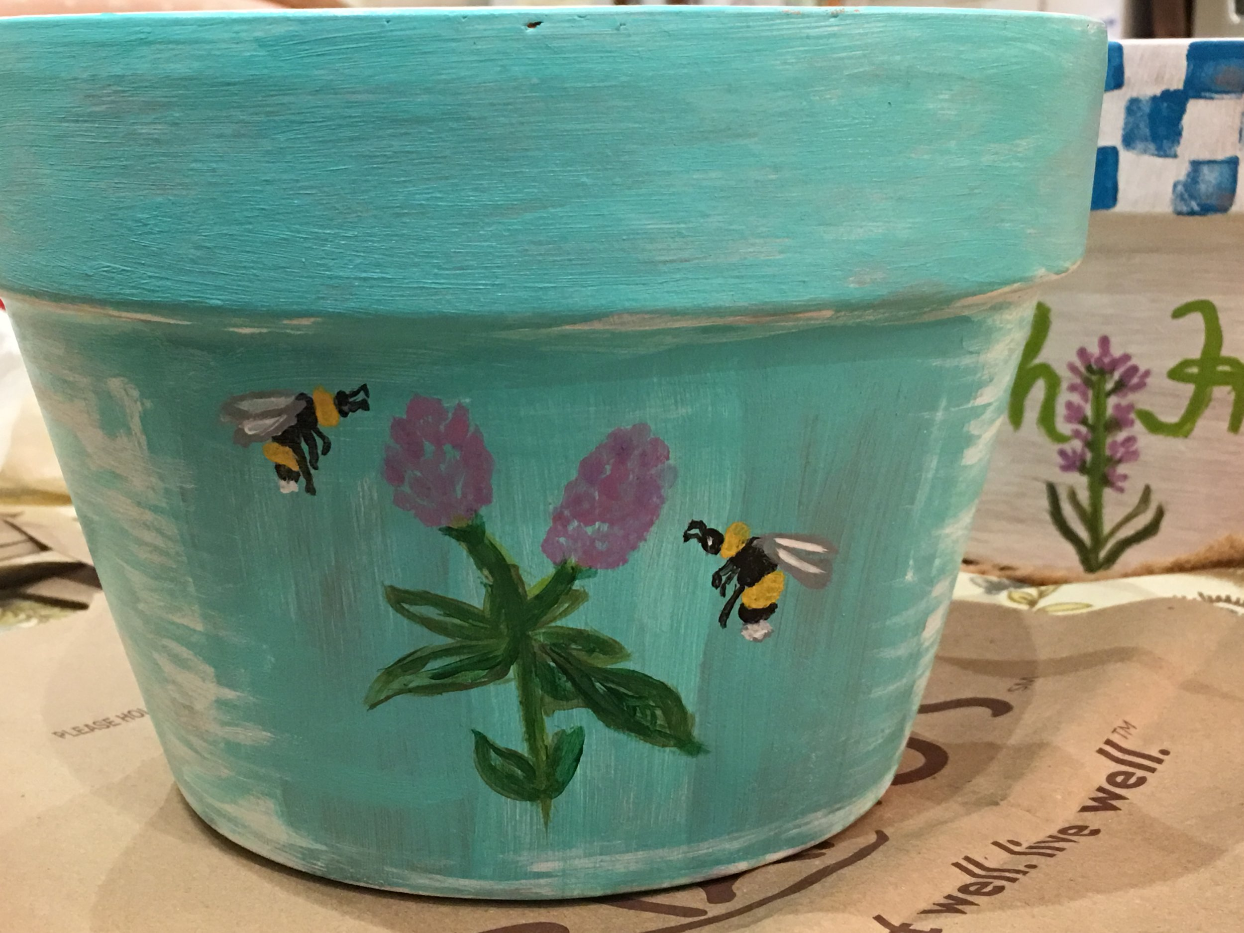 hand painted terra cotta pot
