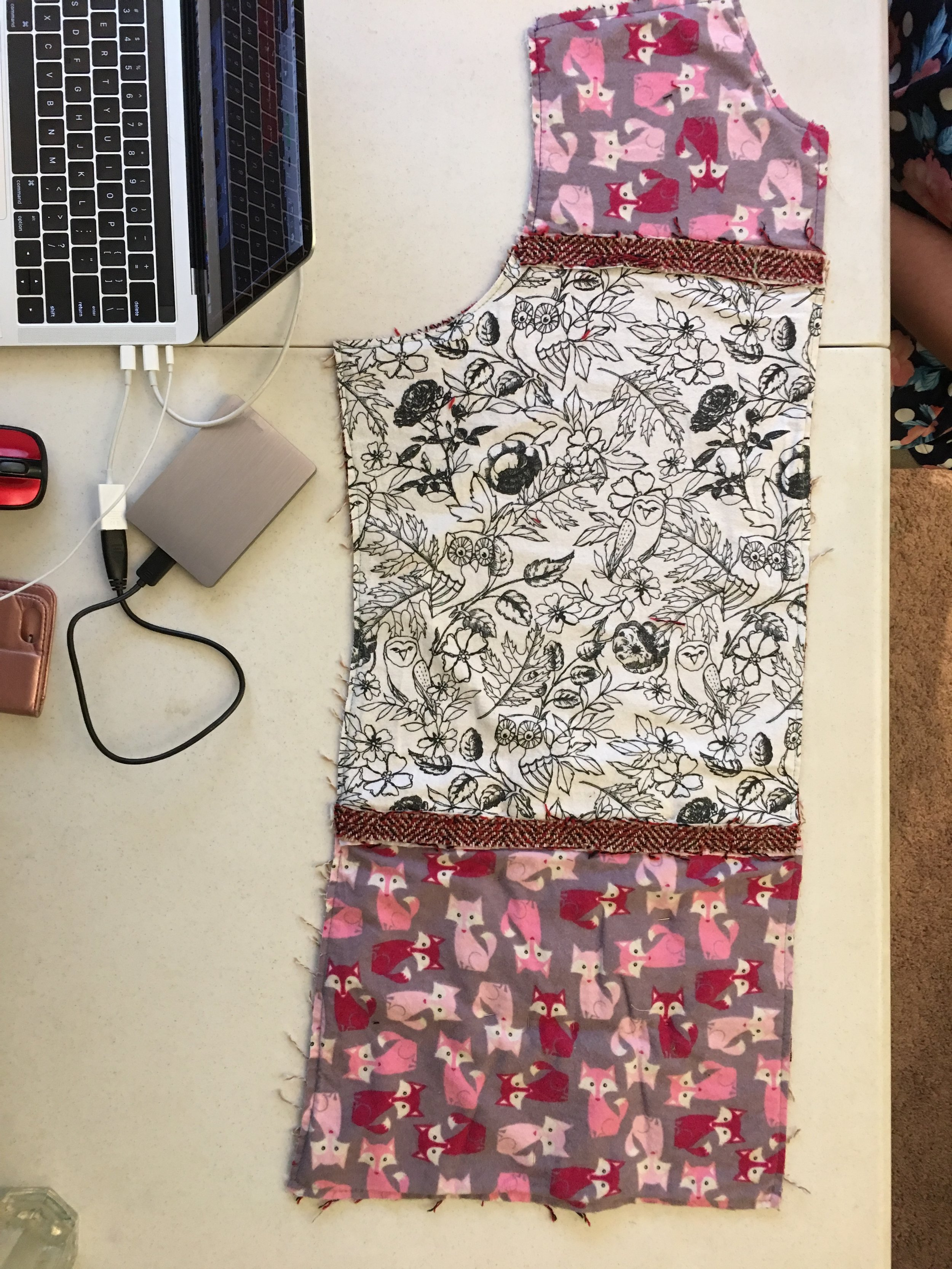 Underlining with flannel scrap fabrics