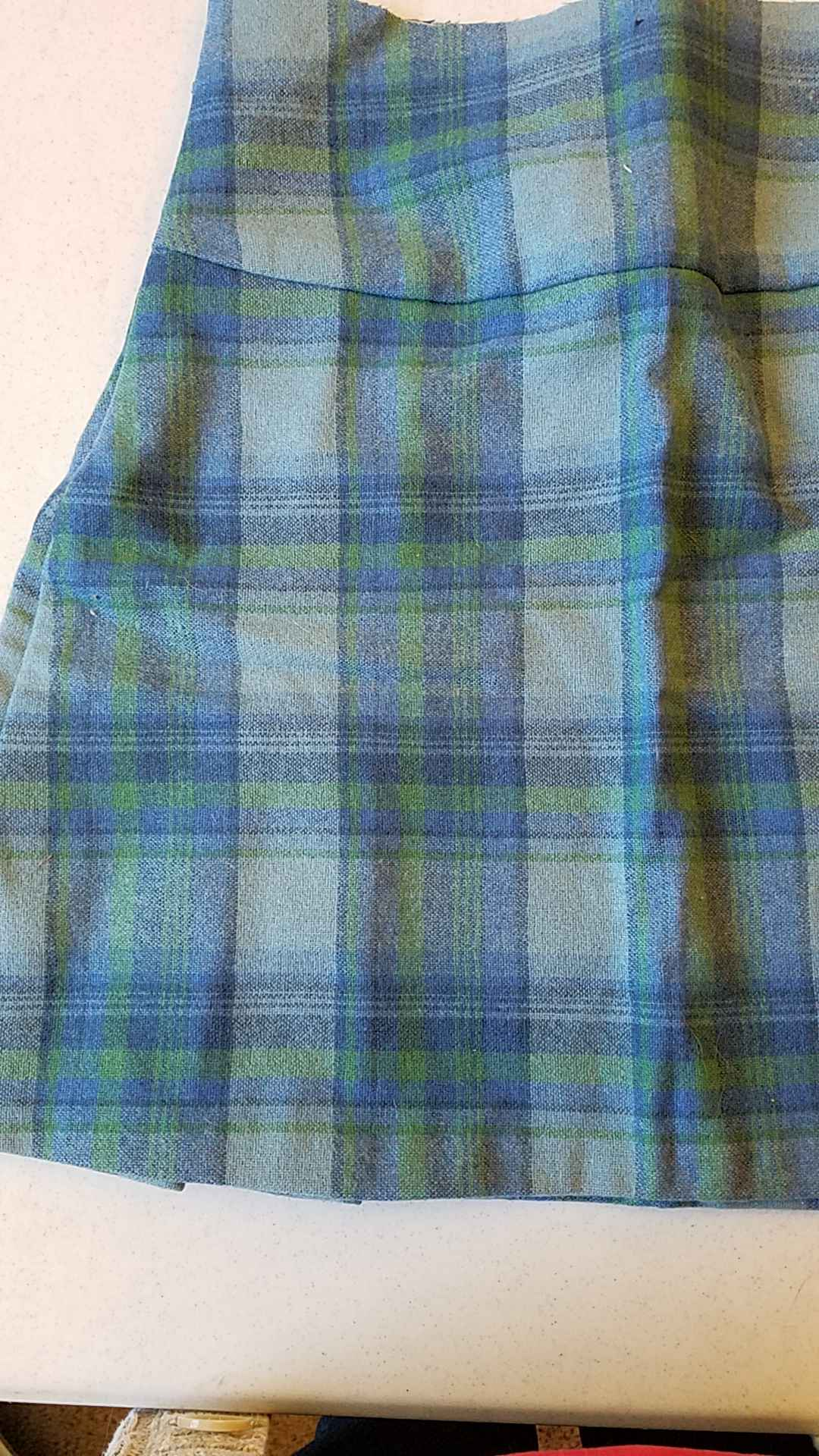 Vintage 60s wool plaid fabric