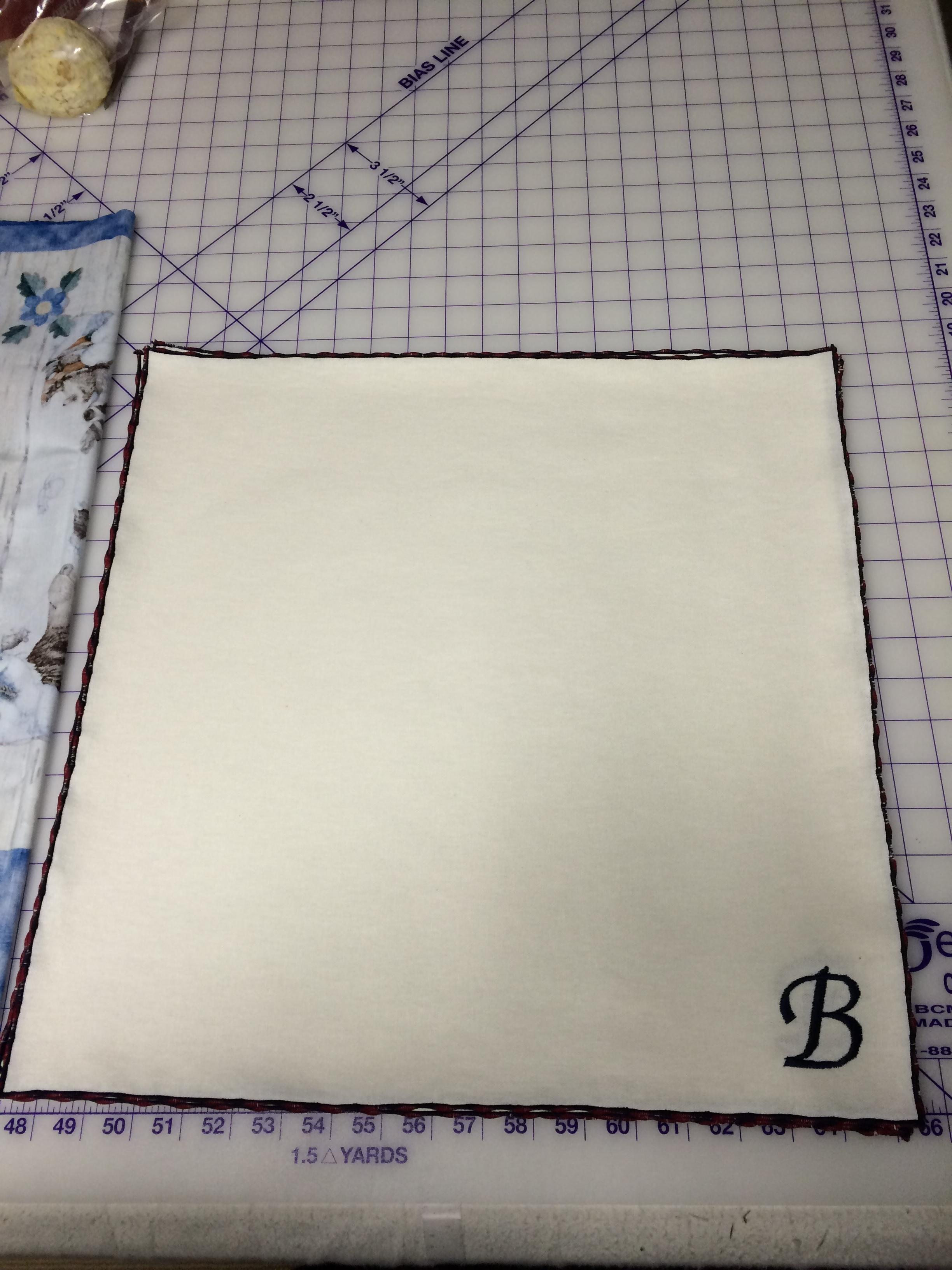 Machine Embroidered & serged napkins
