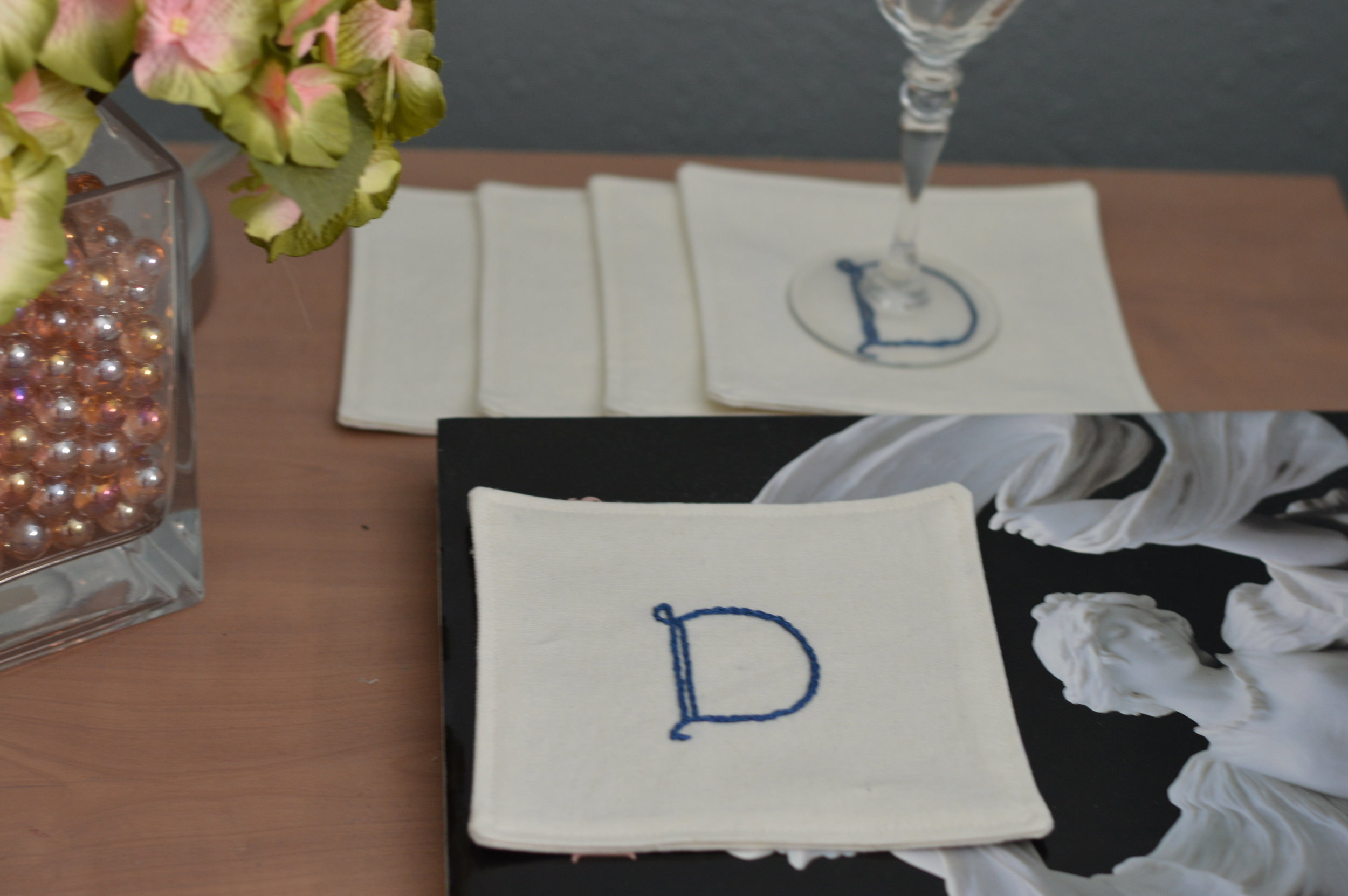 Hand embroidered Cocktail napkins