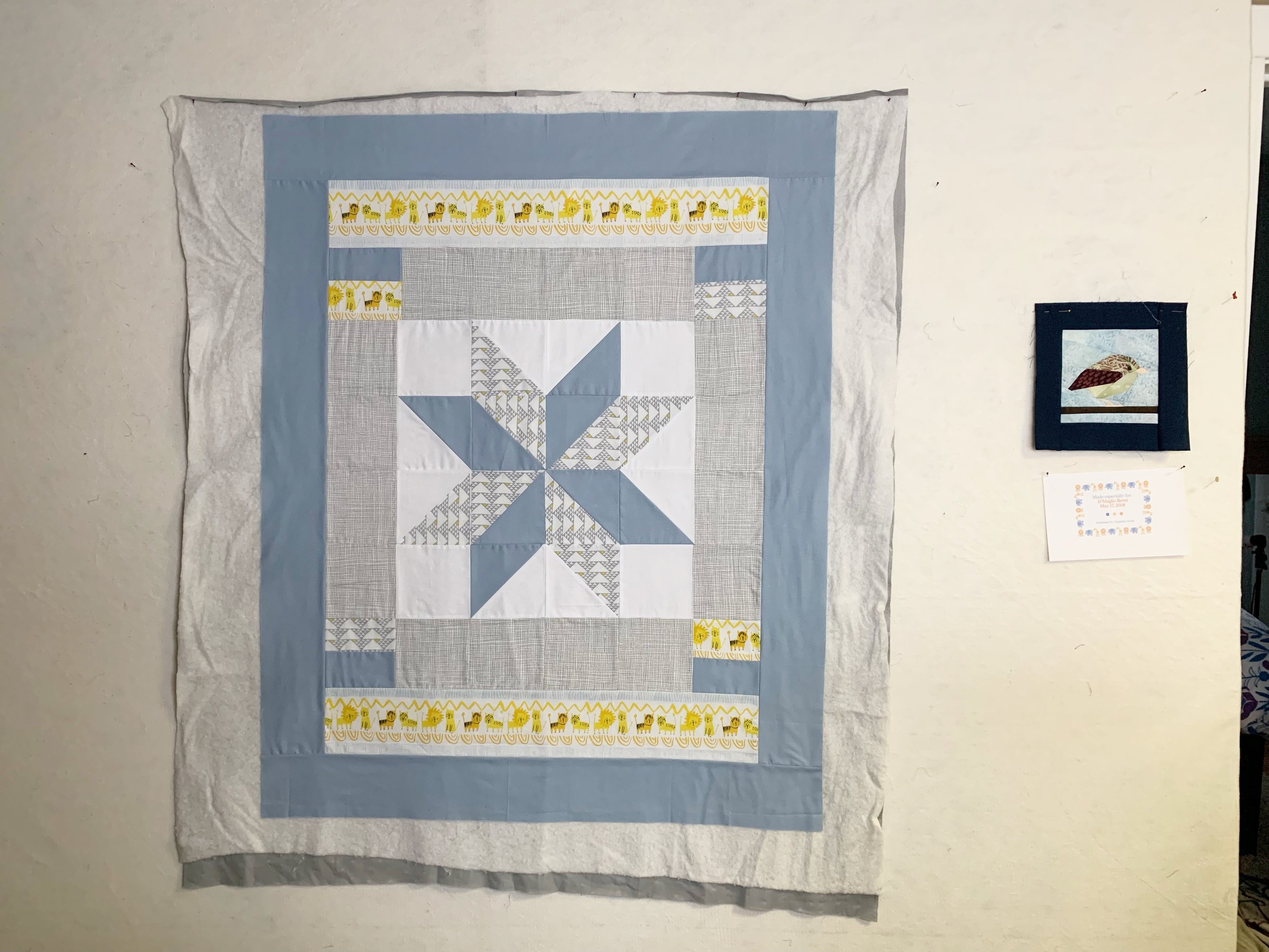 Baby Quilt I am working on. This is my design wall, and I spray basted the top to the batting very easy this way. I really love Hobbs cotton/poly blend batting for baby quilts - (I have no affiliate or sponsorship with Hobbs - I just like their batting)