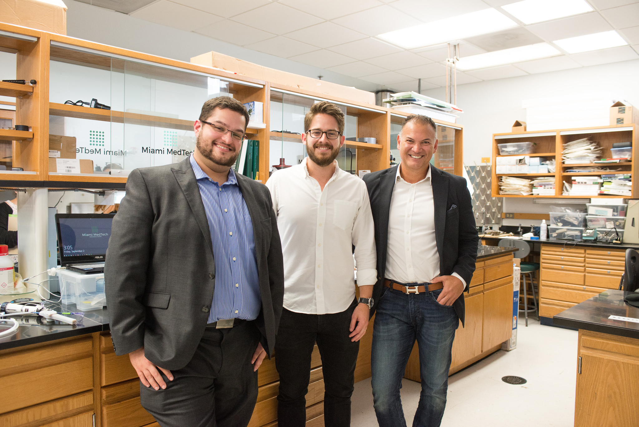 The founding members of Miami MedTech (from left to right): David Knopf, Max Mendez and Dr. Pedro Martinez-Clark.