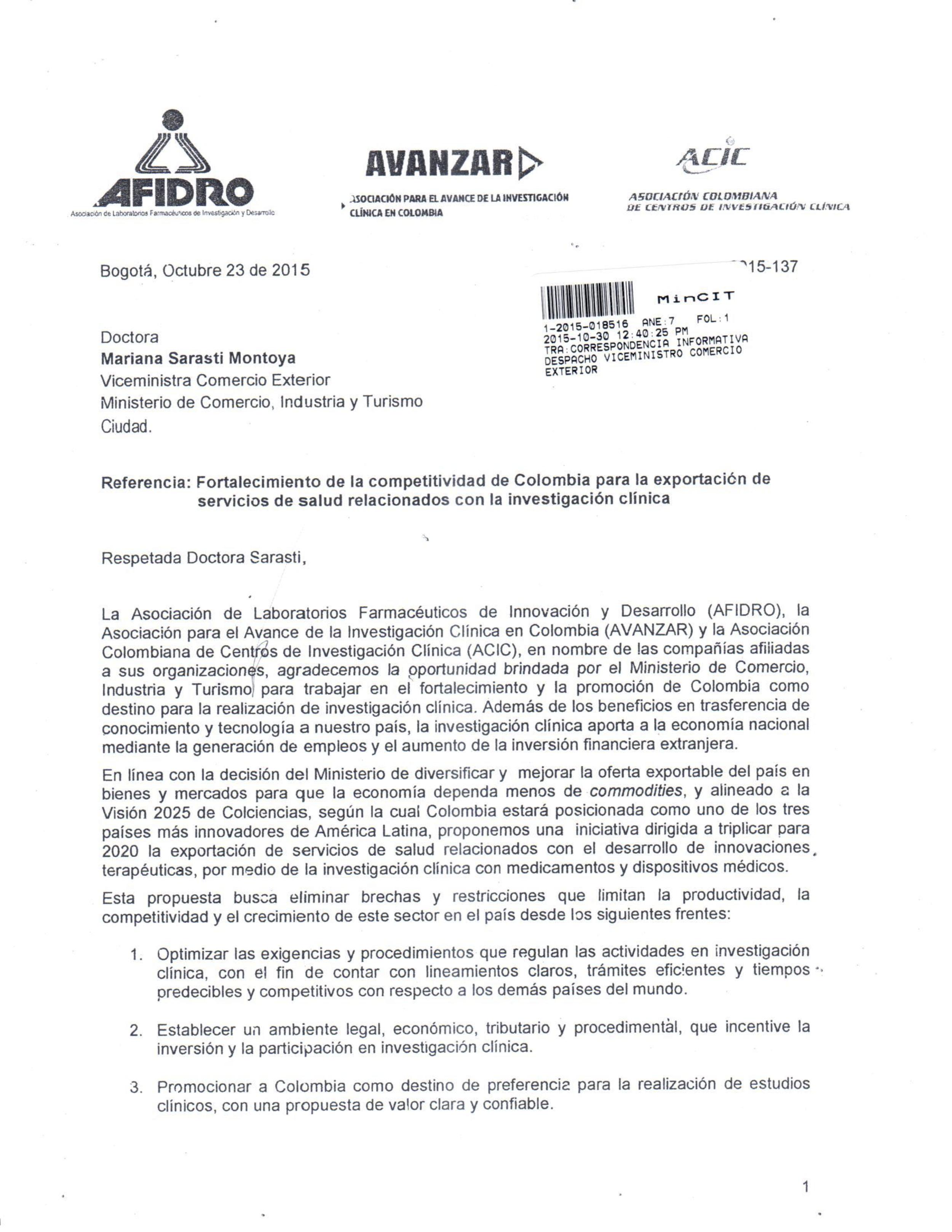 Carta de las asociaciones gremiales de investigación clínica en Colombia al Ministerio de Comercio Industria y Turismo