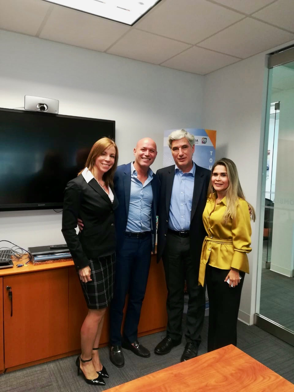 Friday, March 29, 2019 — From left to right, Monica Mora (VP of Operations, bioaccess.™), Julio G. Martinez-Clark (CEO, bioaccess.™), Juan Pablo Uribe (Colombia's Minister of Health and Social Protection), and Silvia Rodriguez (CEO, Caribbean Health Group) met at PROCOLOMBIA's office in Miami, FL to discuss how to boosts Barranquilla's capacity to attract more clinical research trial projects to the city through a collaboration between Caribbean Health Group and bioaccess.™