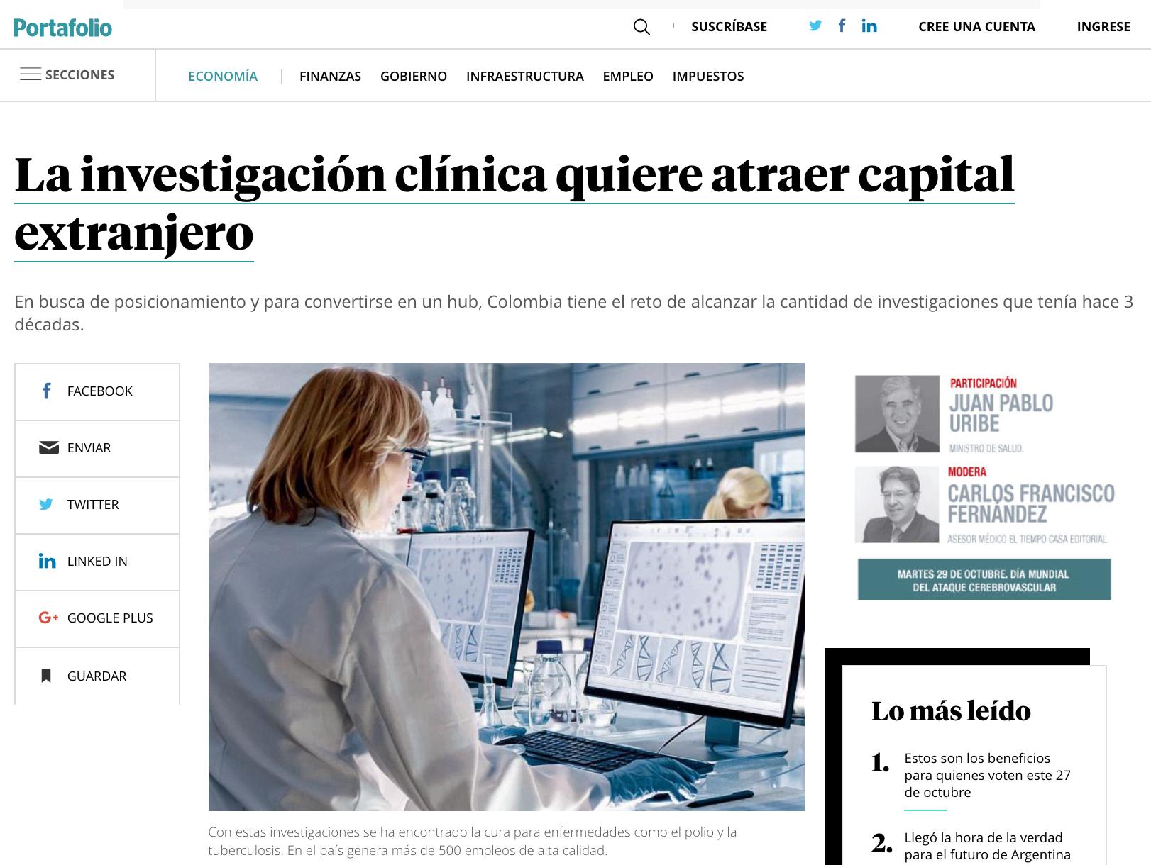 La investigación clínica quiere atraer capital extranjero a Colombia