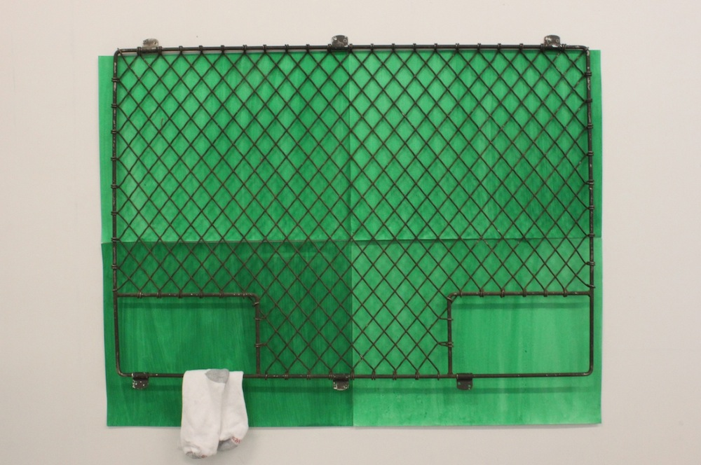 """Soo Shin\ Here/There\ acrylic on paper, metal fence, socks\ h36"""" w48"""" d 2""""\ 2013"""