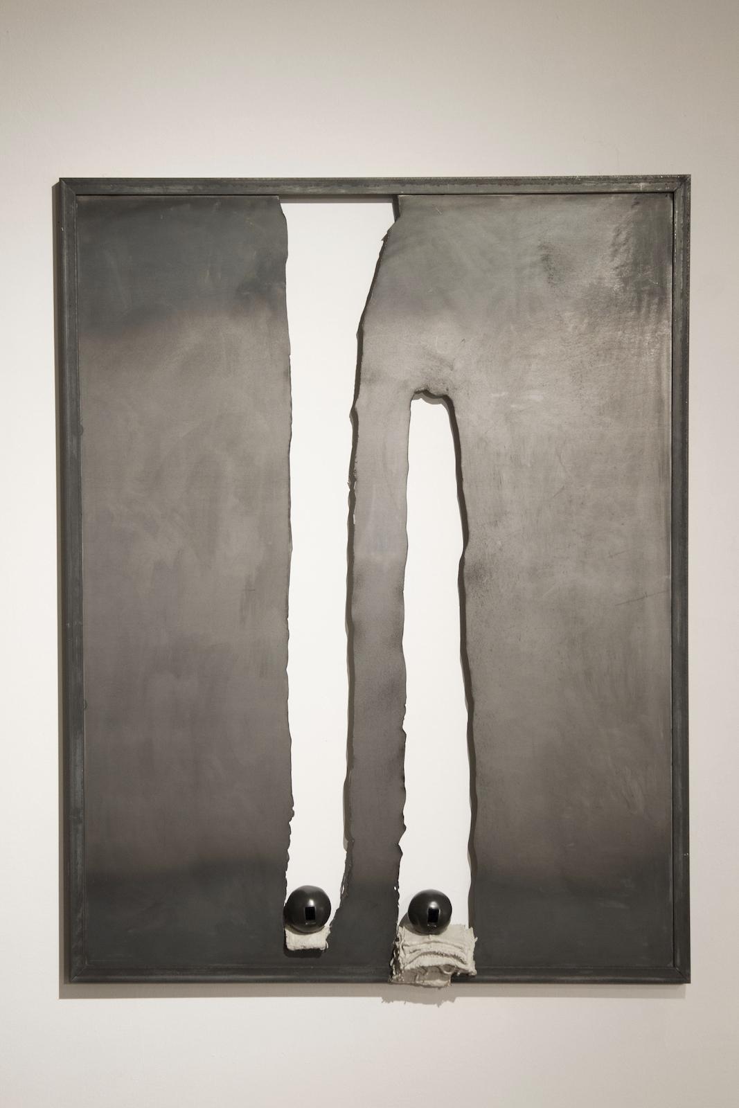 "Soo Shin\ untitled\ steel, burlap, concrete, stoneware with glaze\ h40"" w32"" d 3""\ 2018"