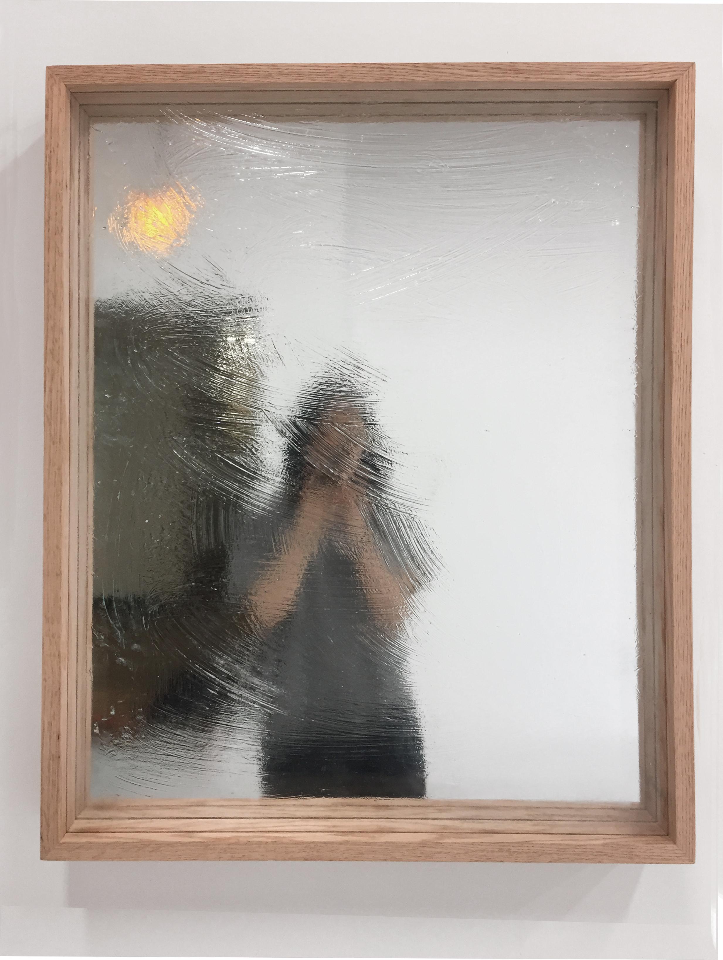 """Soo Shin\Blurred and Blurry\ oak wood, glass, mirror, petroleum gel\ 25""""x 31""""\ 2019"""