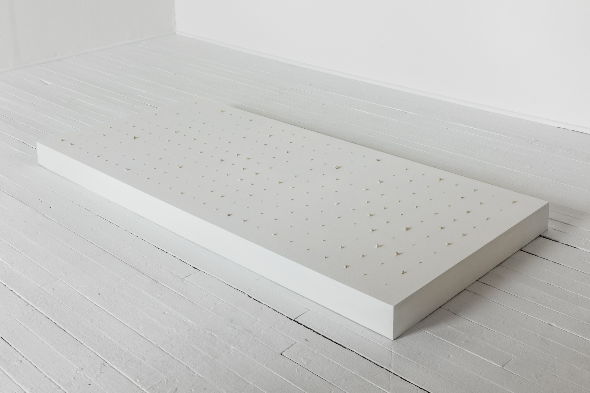"""Soo Shin\ A Collection of Tears 2012-Present\ tears, concrete, wood, primer\ platform h3"""" w65"""" d 30"""", tear approximately ¼"""" in diameter\ 2012-present (Photo credit Bar4000/Evan Jenkins)"""