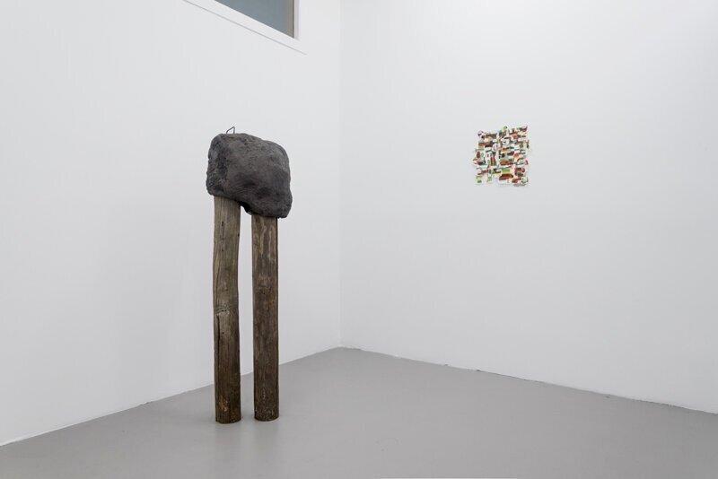 """Soo Shin\ Untitled\h 58"""" w 24"""" d 15""""\ concrete, plaster, steel, wood\2017 (on wall: Luis Romera)"""