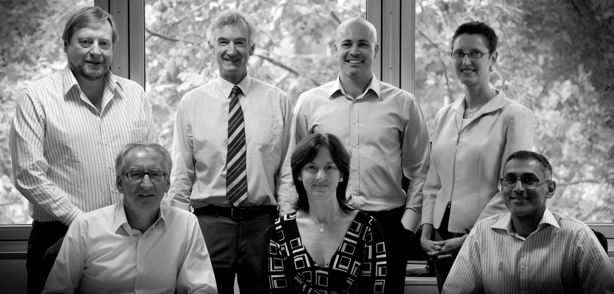 Net Balance Foundation Advisory Board   L-R back row: Rowan Dowland, Graham Hunter, Andrew Wilson, Wendy Stubbs  Front row: Geoff Mabbett, Jane Farago, Terence Jeyaretnam