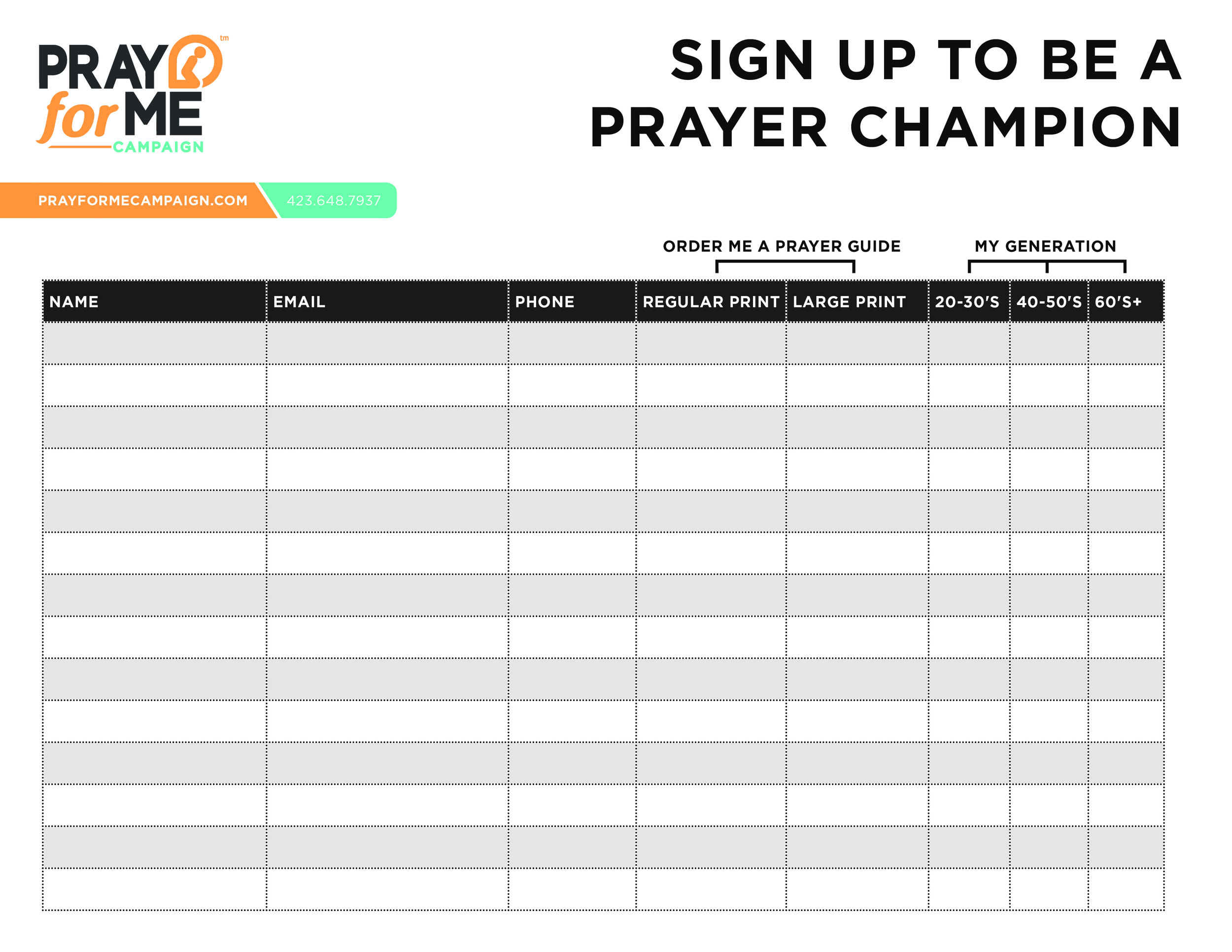 Prayer Champion Sign Up Sheet