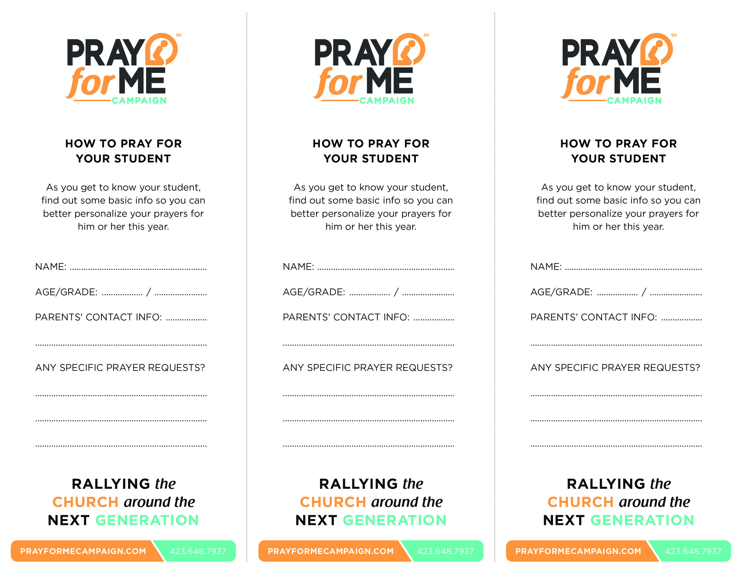 How to Pray Cards - Student Version