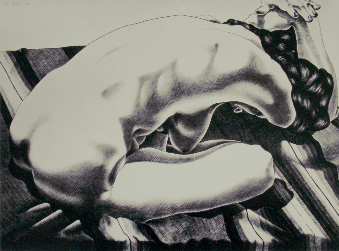 """Nude on a Striped Blanket, 1976  22.5"""" x 30"""" Lithograph on Rives BFK natural"""