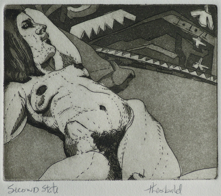 """Reclining Nude (2nd state), 1971  4"""" x 5"""" Etching aquatint"""