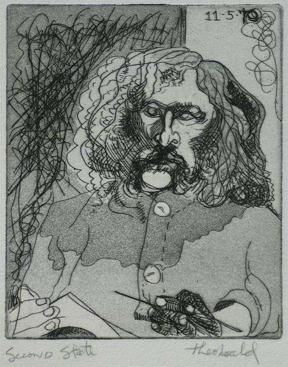 "Self Portrait, 1970  4"" x 5"" Etching aquatint"