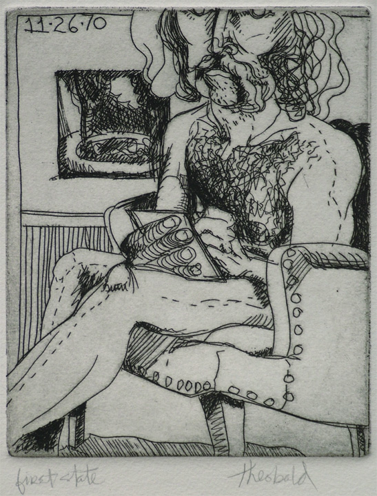 """Nude Self Portrait: Fountain in the Hospital Garden (1st state), 1970  4"""" x 5"""" Etching"""