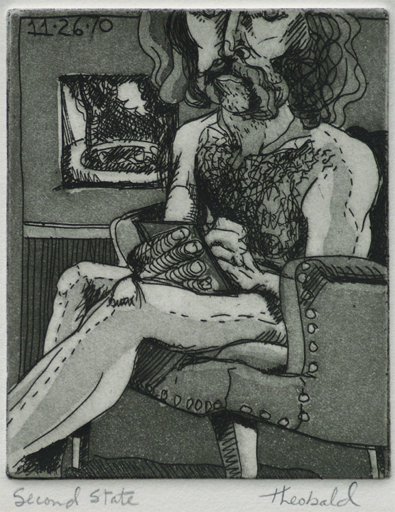 """Nude Self Portrait: Fountain in the Hospital Garden (2nd state), 1970  4"""" x 5"""" Etching aquatint"""