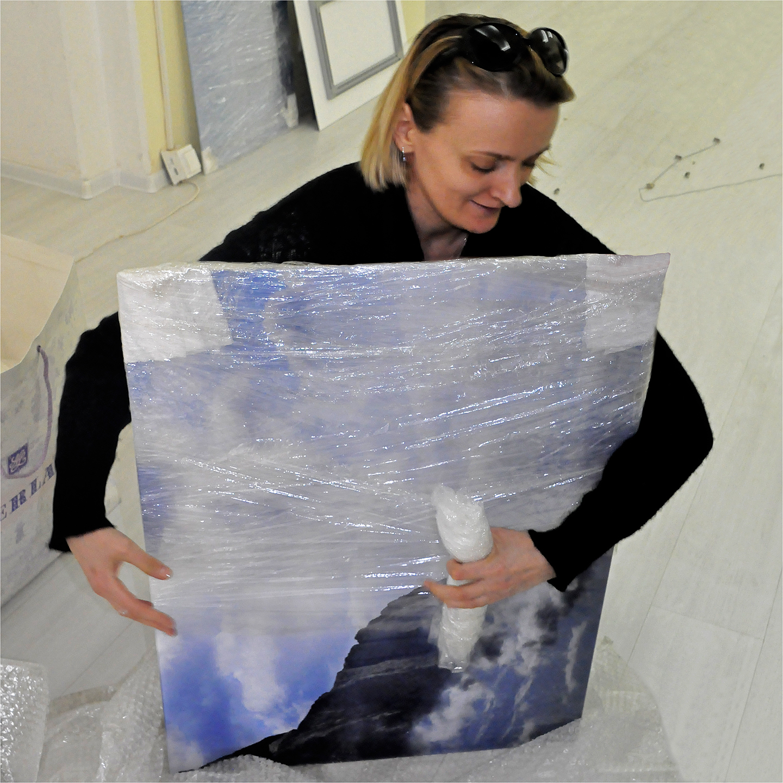 "Elena Telpukhovskaya Wrapping Lake Baikal, 2012   24"" x 24"""