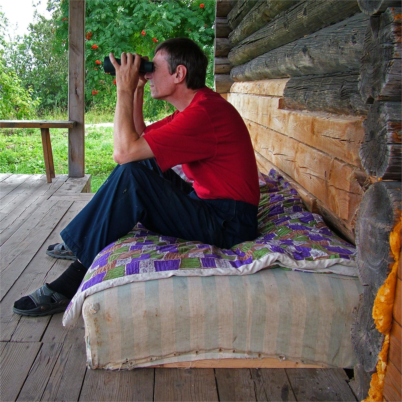 """Gennady Troshkov Watching Volga in Shestakovo, 2006   24"""" x 24"""""""