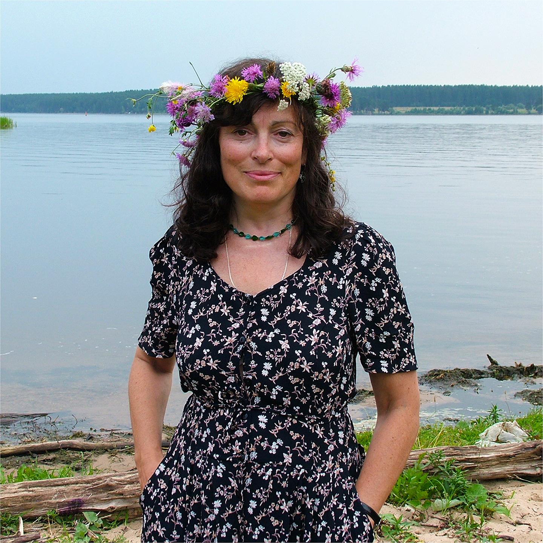 """Marina Shusterman on Volga River, 2008   24"""" x 24"""""""