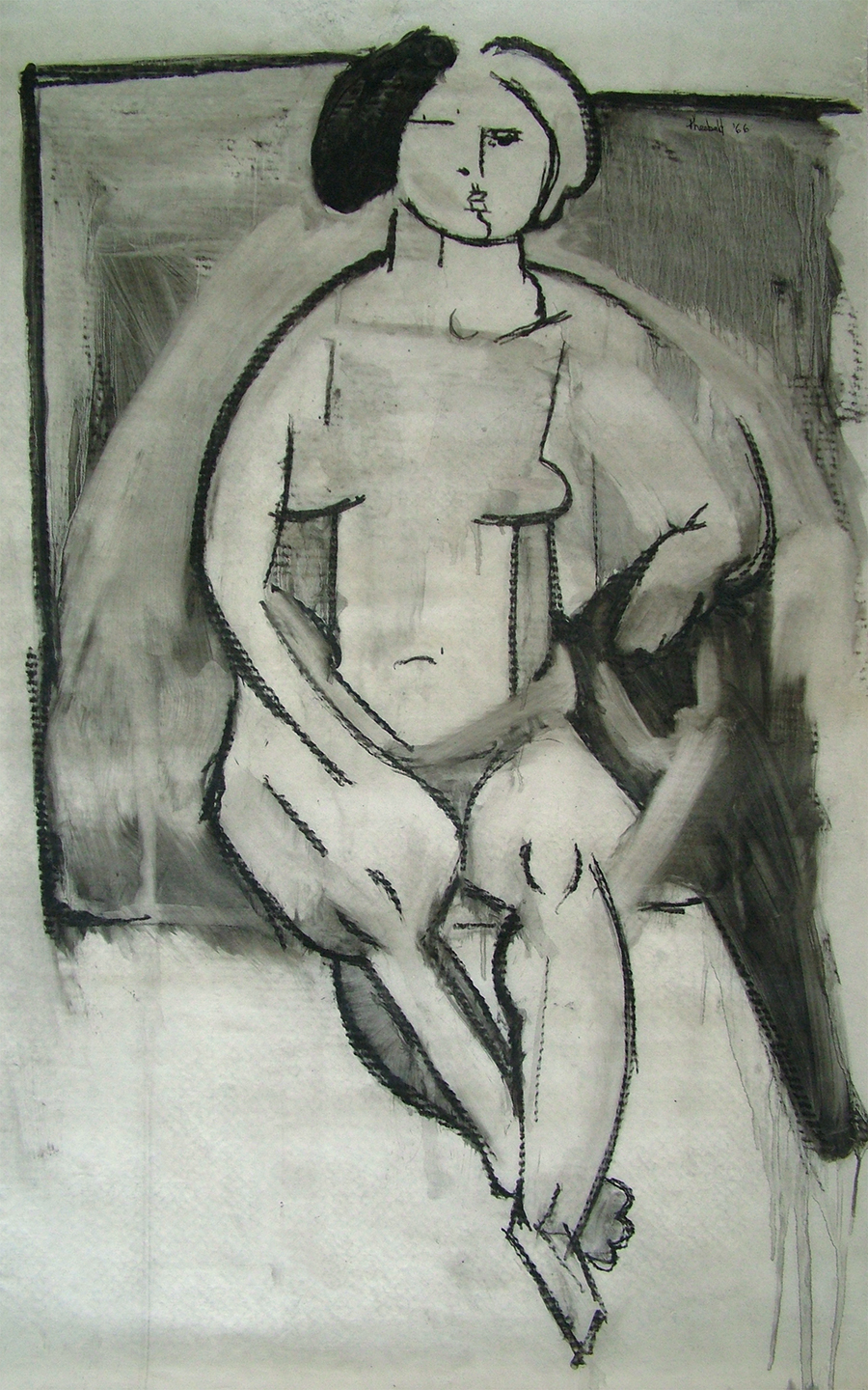 "Seated Nude, 1966  40"" x 25"" Oil crayon on vellum"