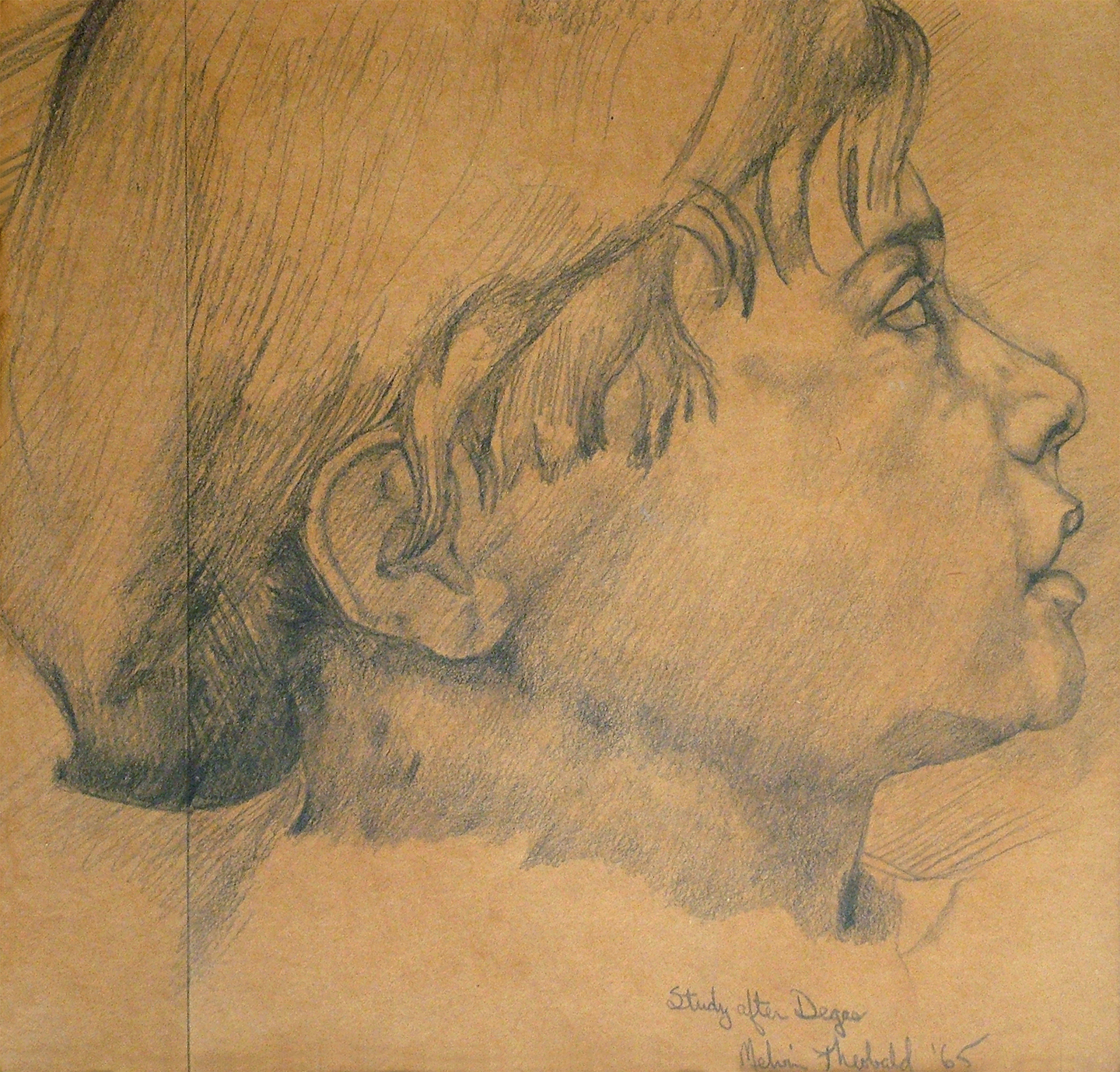 "Study after Degas, 1965  9"" x 9.5"" Pencil on craft paper"