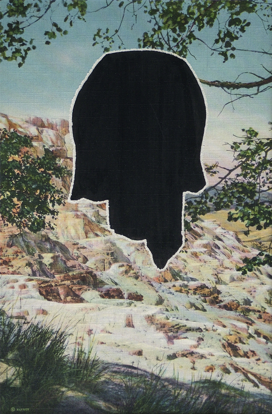 "Untitled No. 2, 1968  6"" x 4"" Ink on postcard"