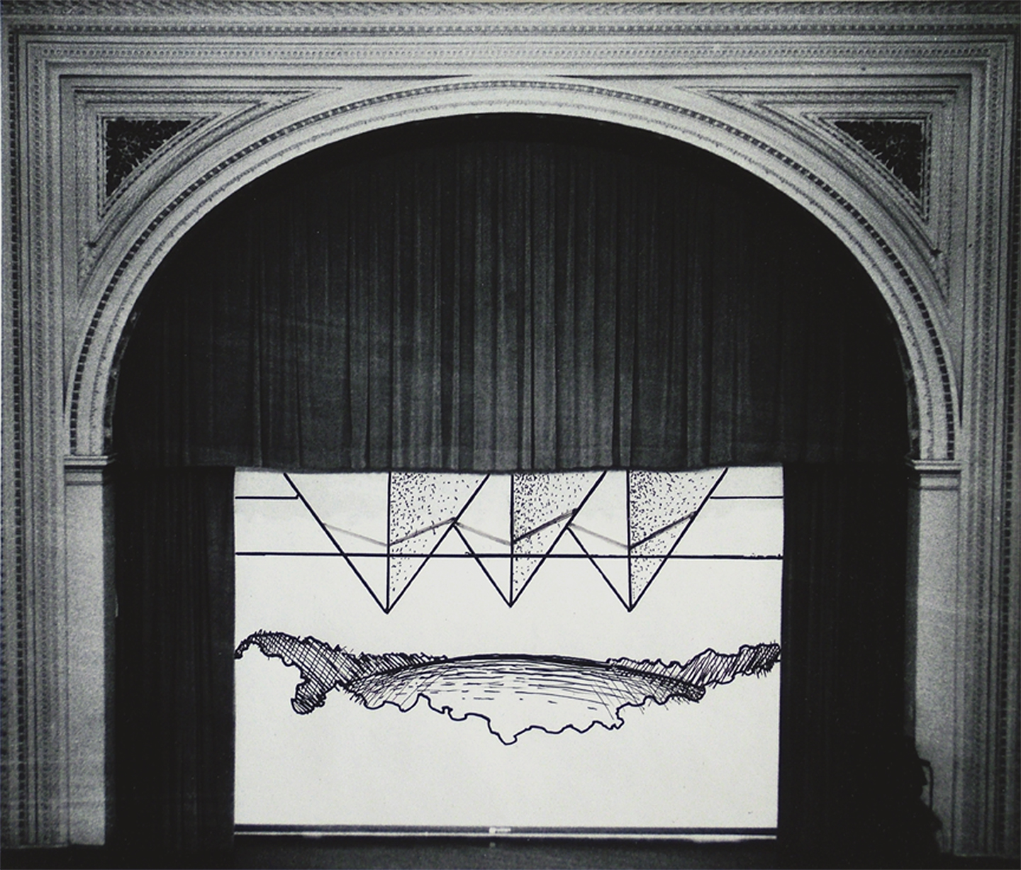 "Fullerton Hall Stage No. 1, 1968  10"" x 12"" Ink on photograph"