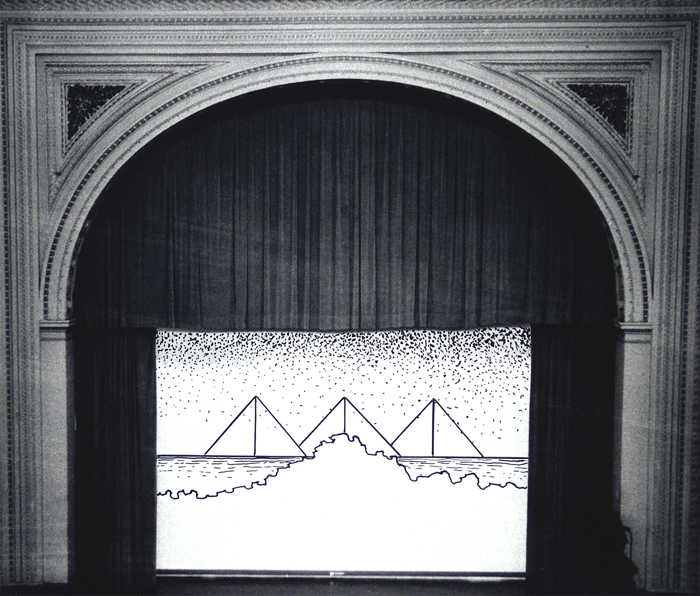 "Fullerton Hall Stage No. 2, 1968  10"" x 12"" Ink on photograph"