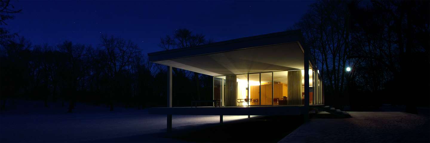 "Farnsworth House Front Corner in Moonlight, 2008  16"" x 48"""