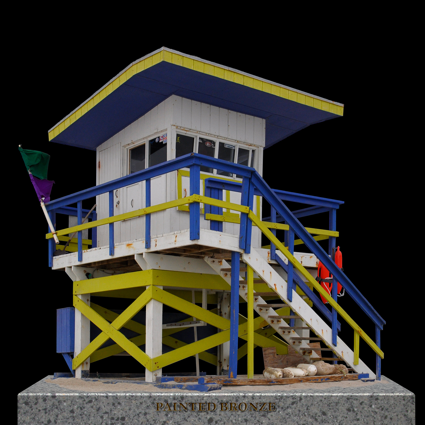 "Painted Bronze Life Guard Station 2, 2012   40"" x 40"""