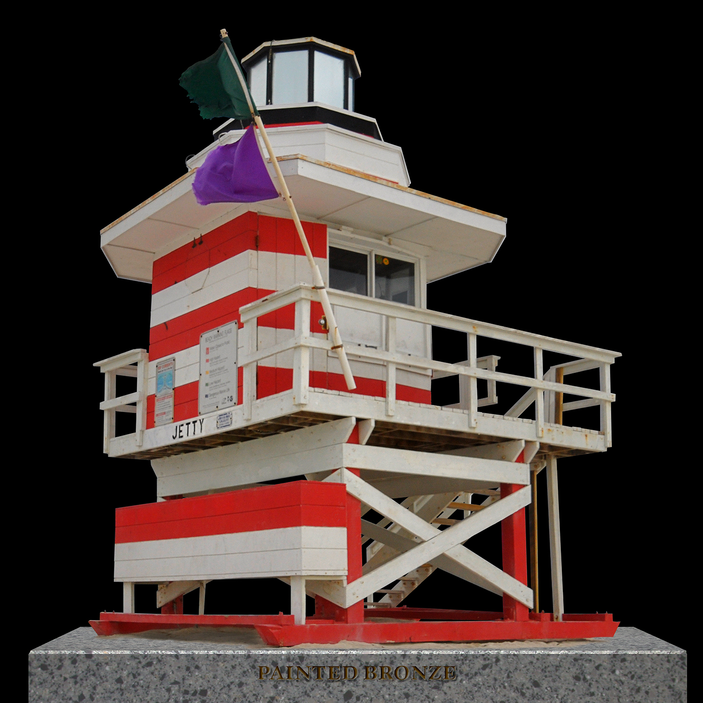 "Painted Bronze Life Guard Station 3, 2012   40"" x 40"""