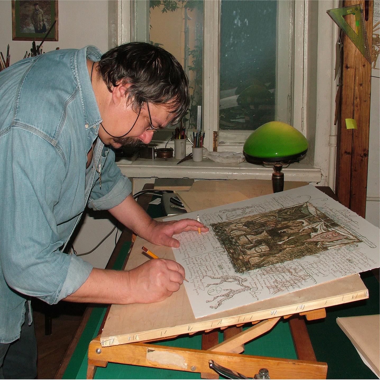 "Sergei Semenov Signing a Print, 2008  24"" x 24"""