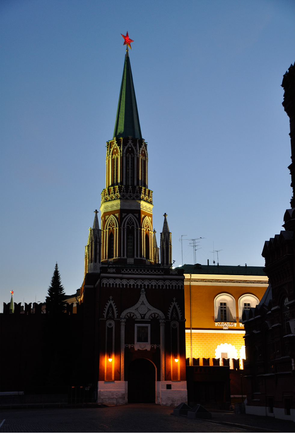 "Nikolskaya Tower at Dusk, 2011   48"" x 34"""